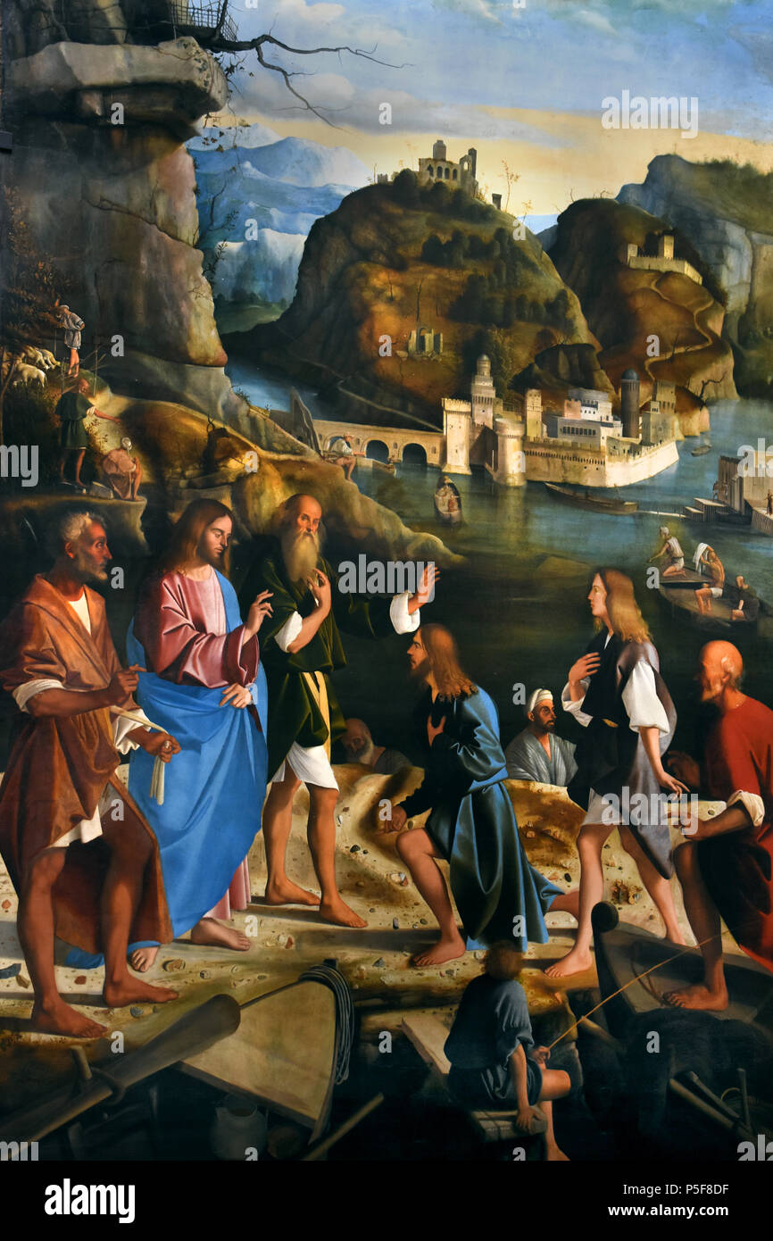 Vocation of the sons of Zebedee by MAMARCO BASAITI Venice 1470 - 1530  Italy, Italian, ( Zebedee, according to all four Canonical gospels, was the father of James and John, two disciples of Jesus. ) - Stock Image
