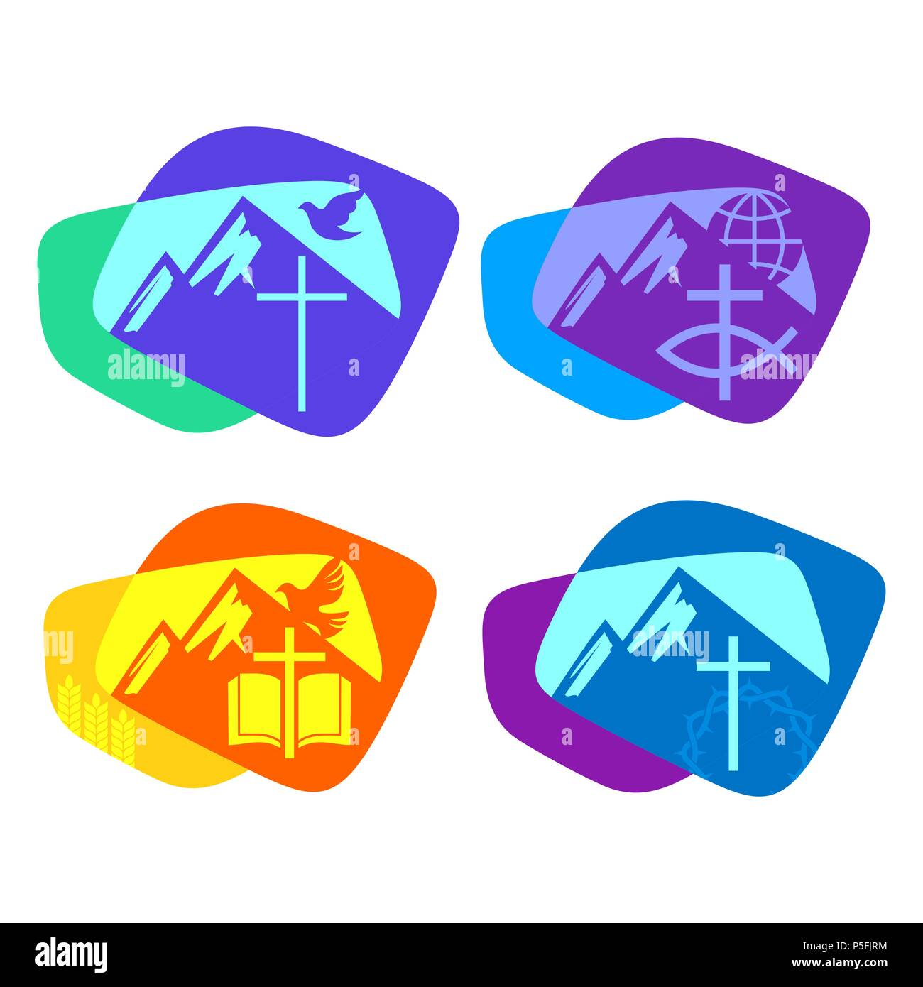 a set of bright colored christian logos for the church ministry