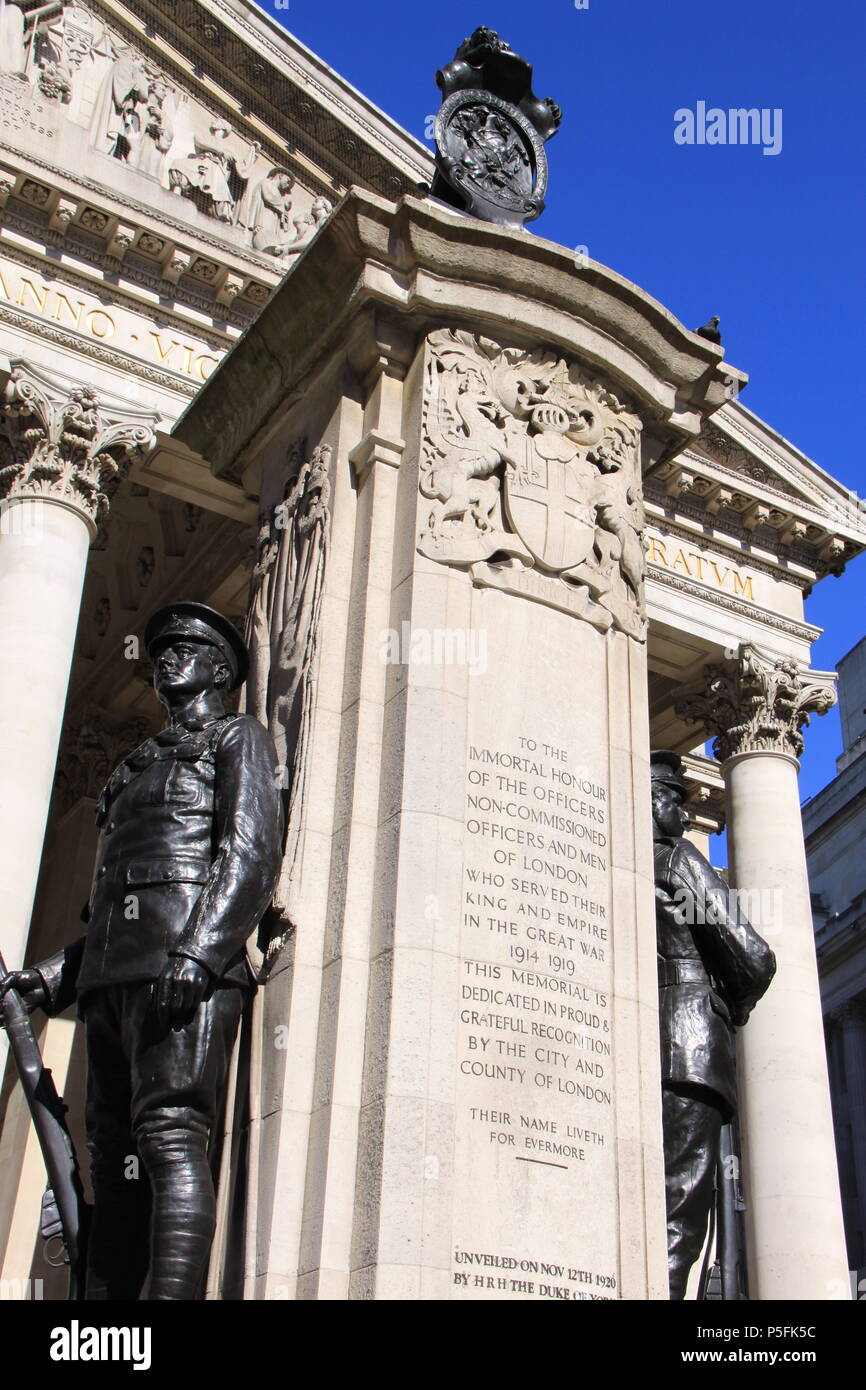 London Troops War Memorial in front of The Royal Exchange (a luxury shopping centre above Bank station), London, England, UK, PETER GRANT - Stock Image