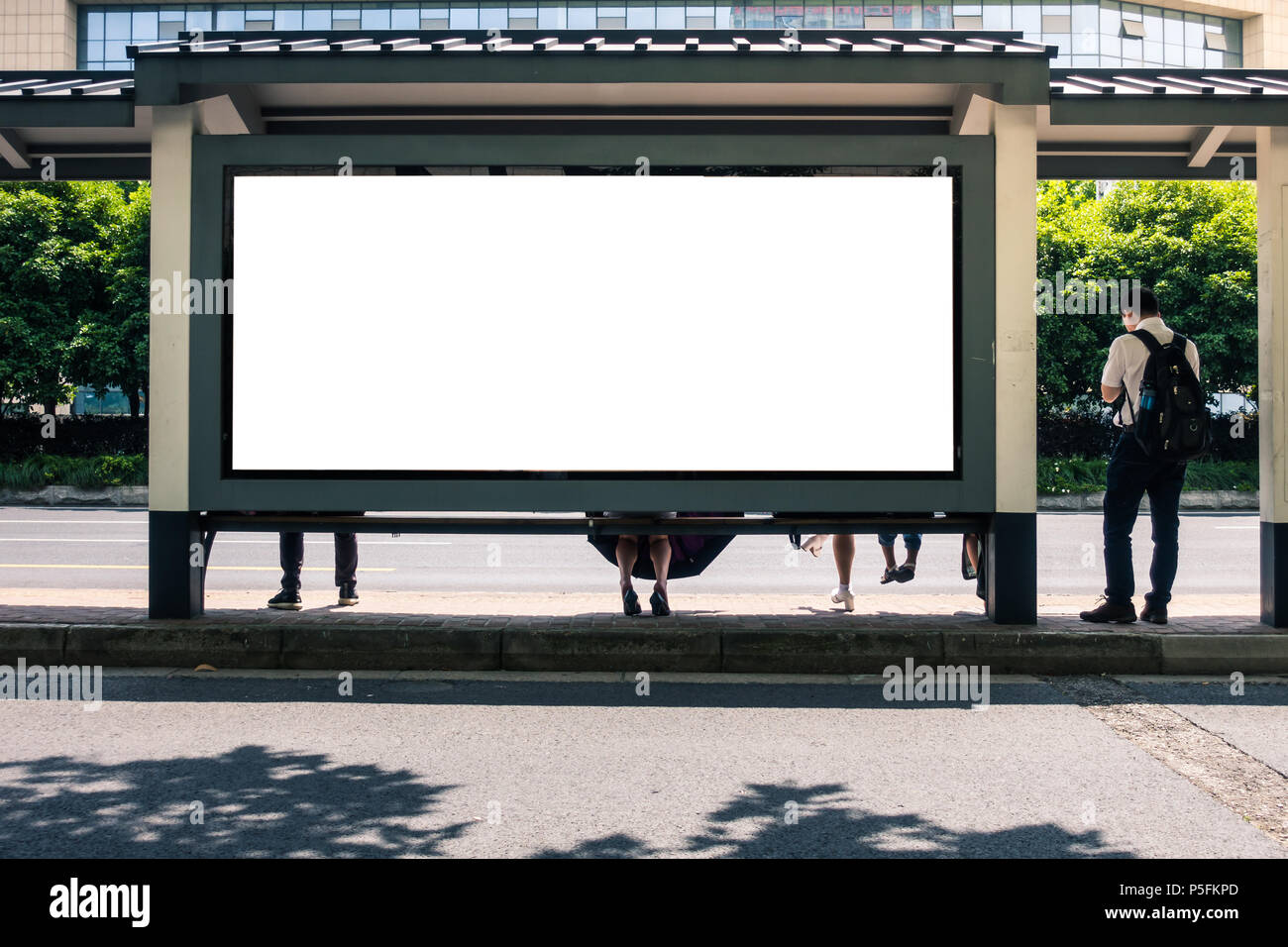 Bus Stop Advertisement Mockup Urban City Environment in China - Stock Image