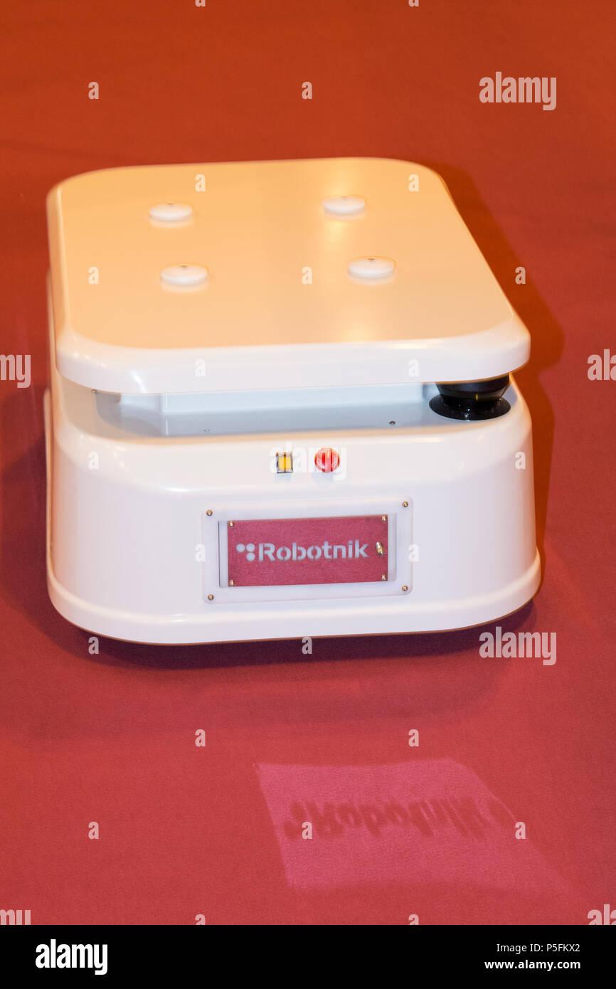 RB-2 Base is a mobile logistic platform form Robotnik company. In GR-EX (Global Robot Expo) - Stock Image