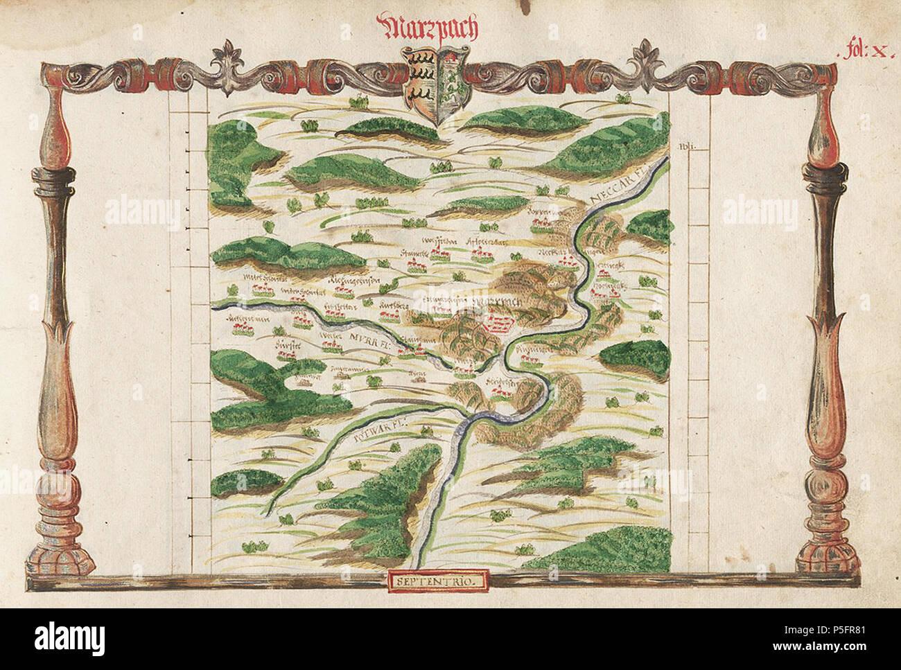 N/A. Deutsch: Amt Marbach im Atlas des Herzogtums Württemberg (1575), fol. X - Cod.hist.qt.102; Blatt 35, von Heinrich Schweickher . 1575. Heinrich Schweickher 17 1575 H Schweickher Marbach WLB 035W - Stock Image