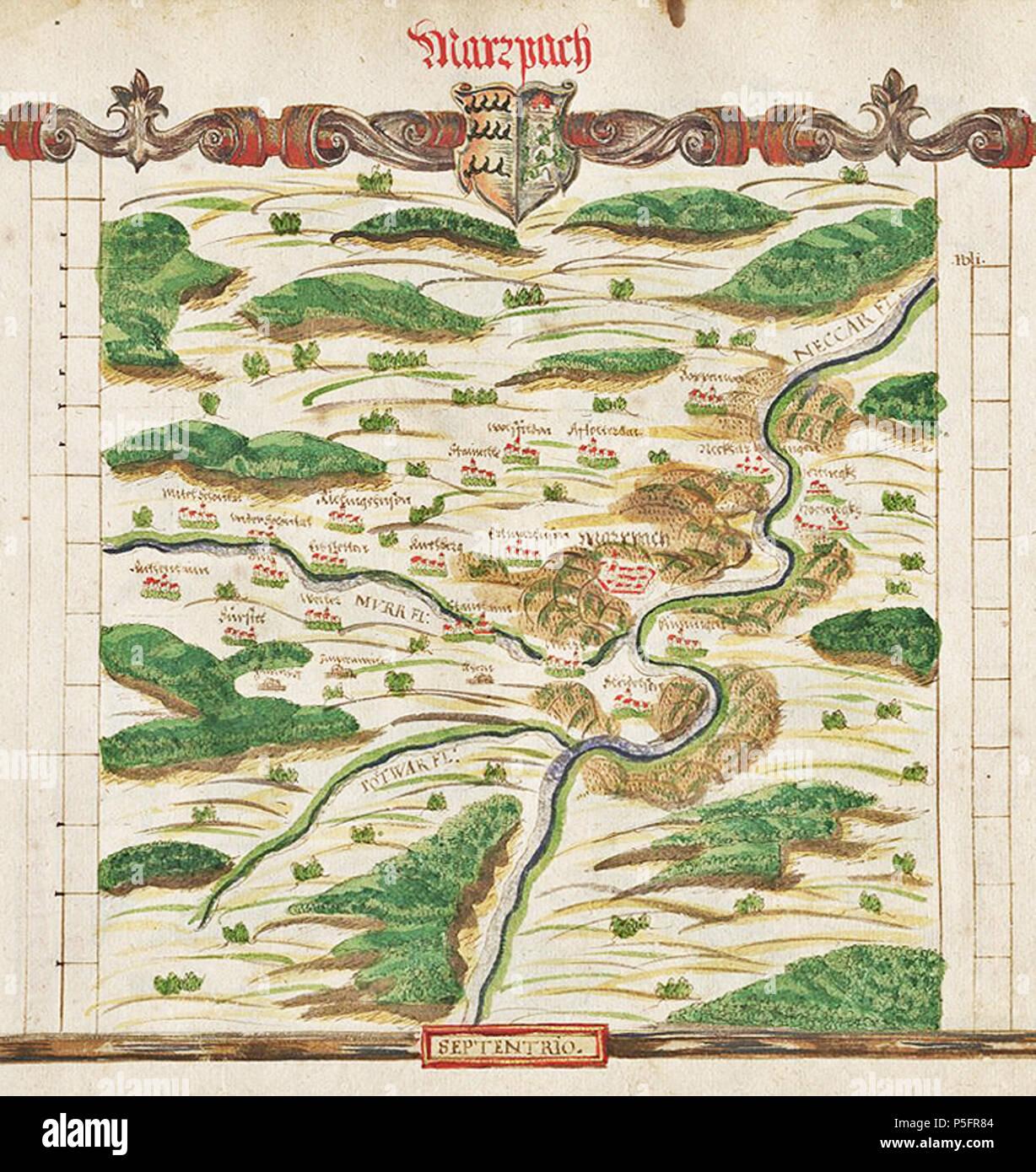 N/A. Deutsch: Amt Marbach im Atlas des Herzogtums Württemberg (1575), fol. X - Cod.hist.qt.102; Blatt 35, von Heinrich Schweickher (Ausschnitt) . 1575. Heinrich Schweickher 17 1575 H Schweickher Marbach WLB 035W Ausschnitt - Stock Image