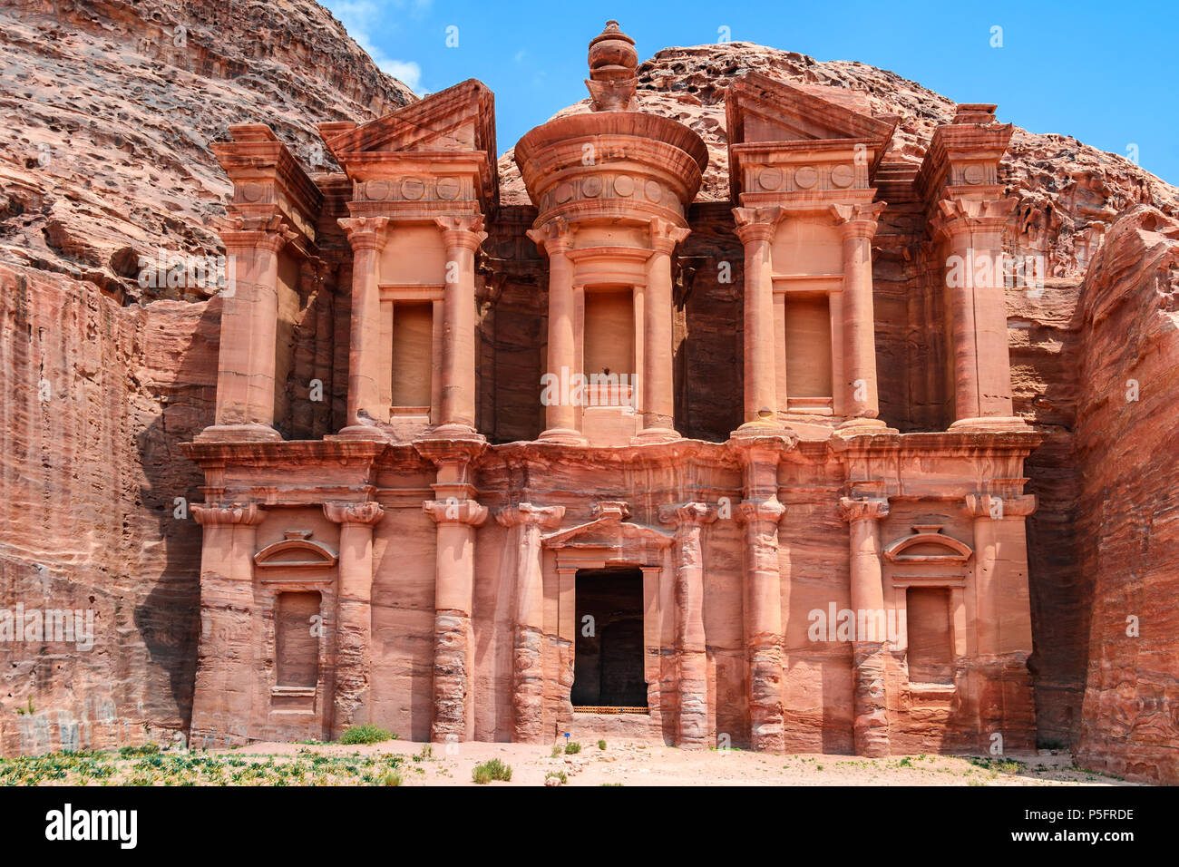 The Monastery in the Lost City of Petra, Jordan - Stock Image