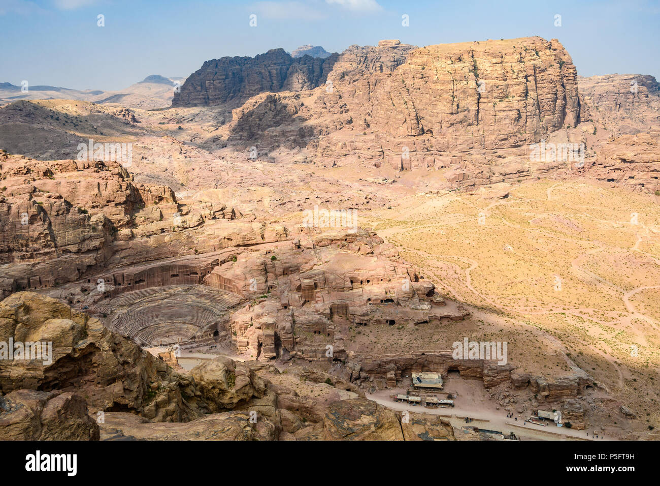 Panoramic view of the tombs and the Roman theater in the Lost City of Petra, Jordan - Stock Image