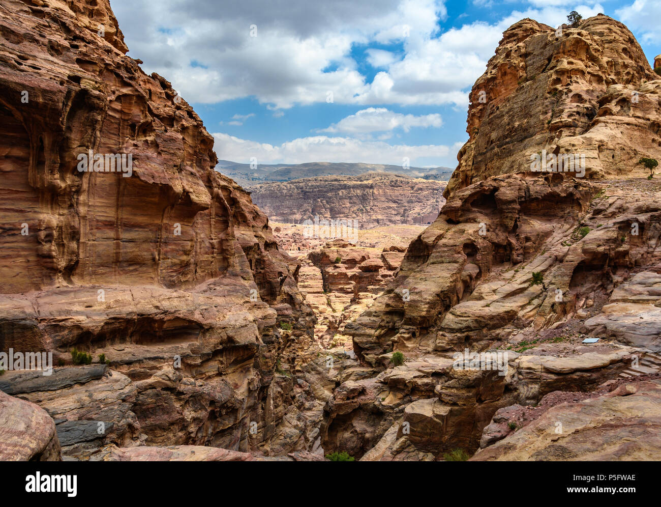 View from the Monastery trail from the Lost City of Petra, Jordan - Stock Image