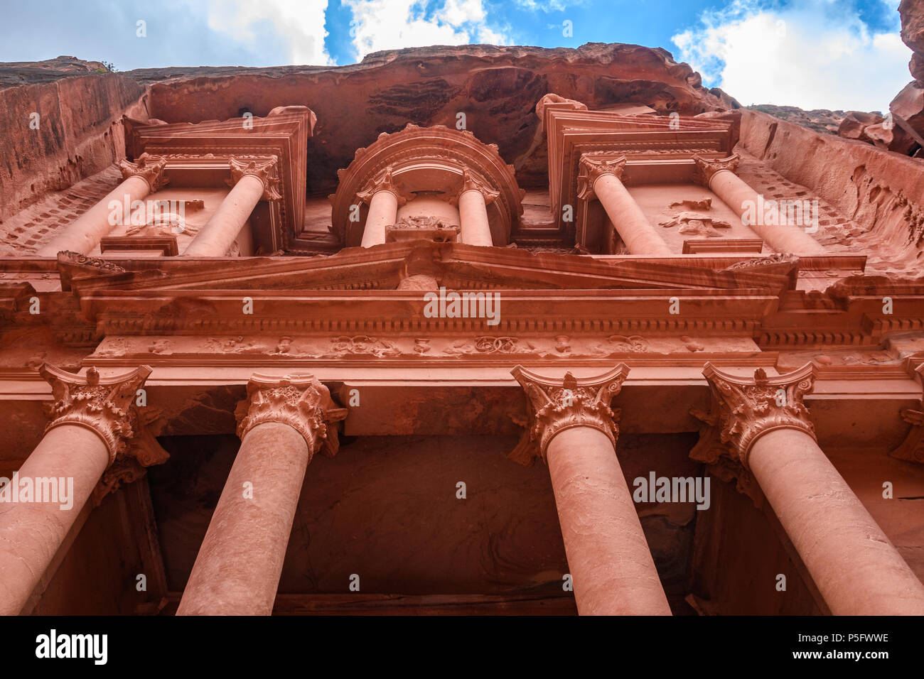 The Treasury from below in the ancient city of Petra, Jordan Stock Photo