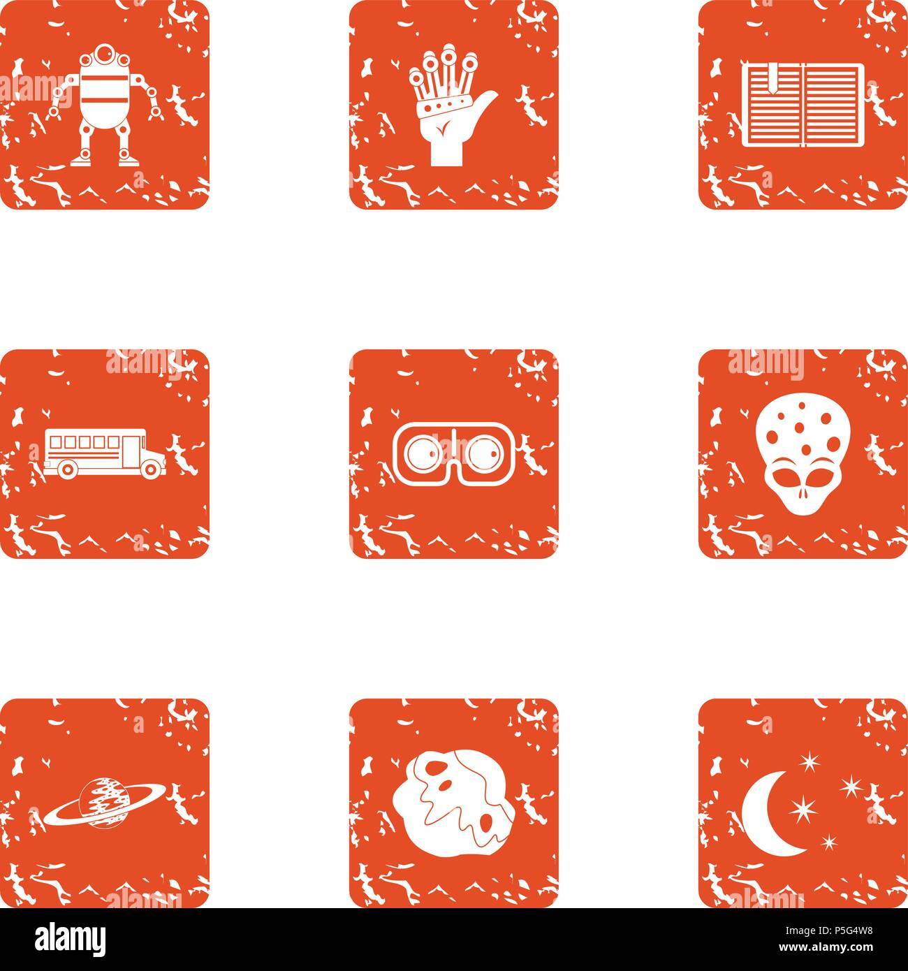 Space programme icons set, grunge style - Stock Vector