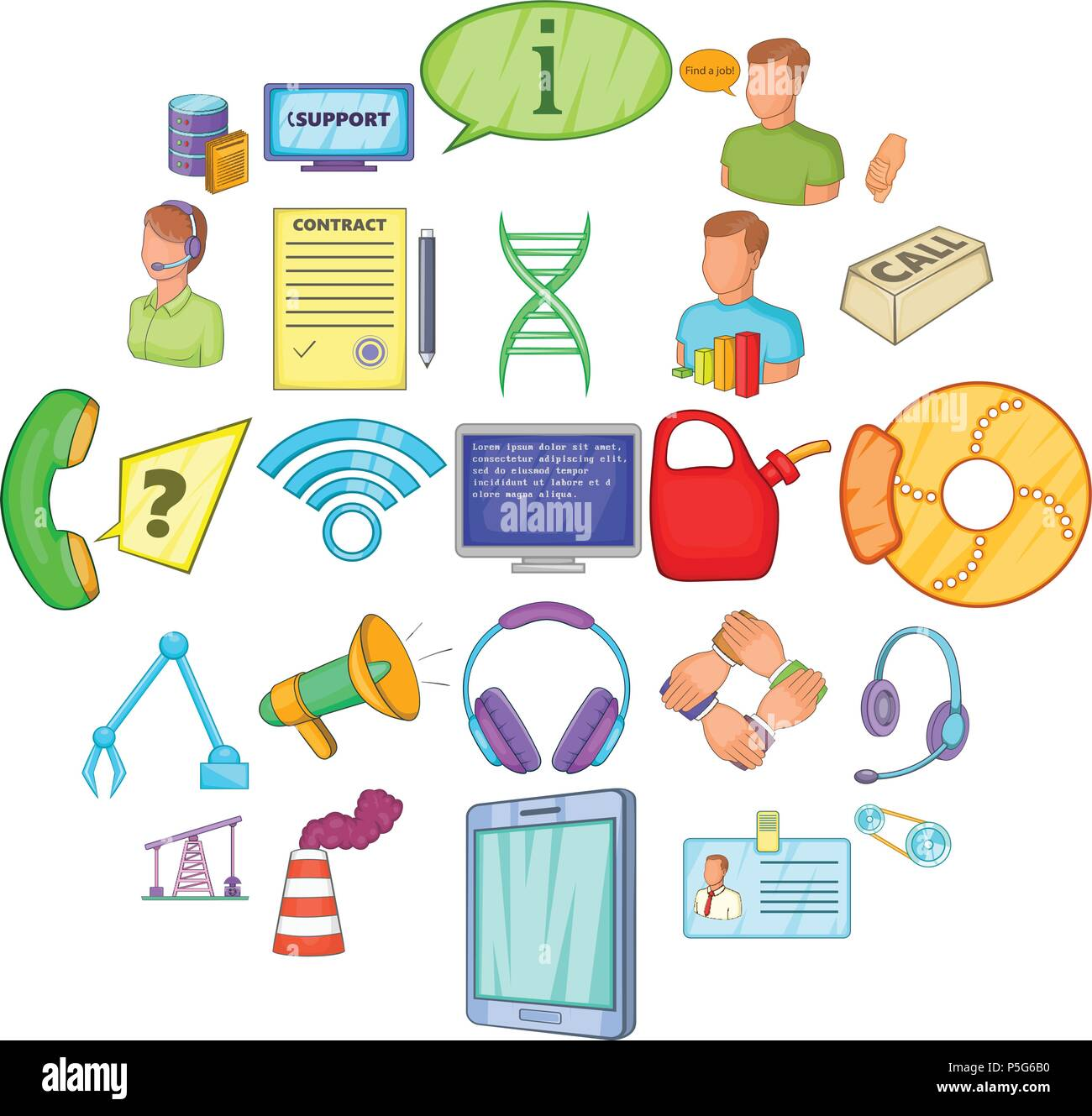 Parsimony icons set, cartoon style - Stock Image