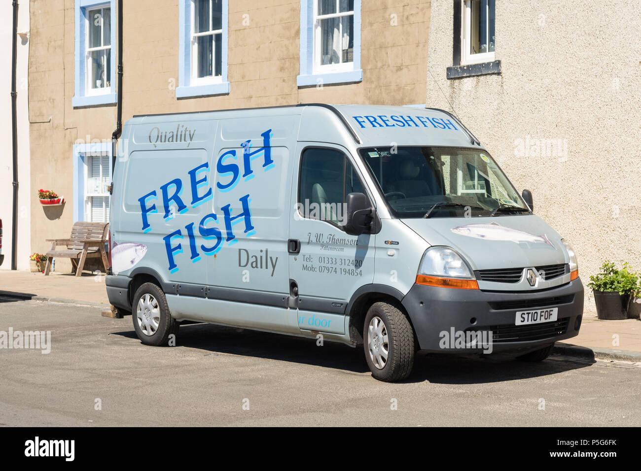 Fresh Fish delivery van in Pittenweem, Fife, Scotland, UK - Stock Image