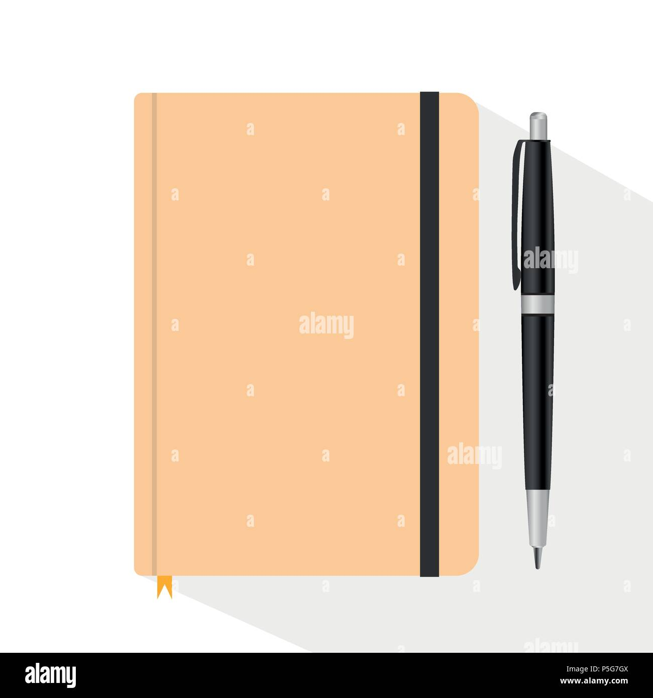 Top view desk of Spiral Notebook and Pen isolated on white background, Flat design Vector Illustration. - Stock Vector