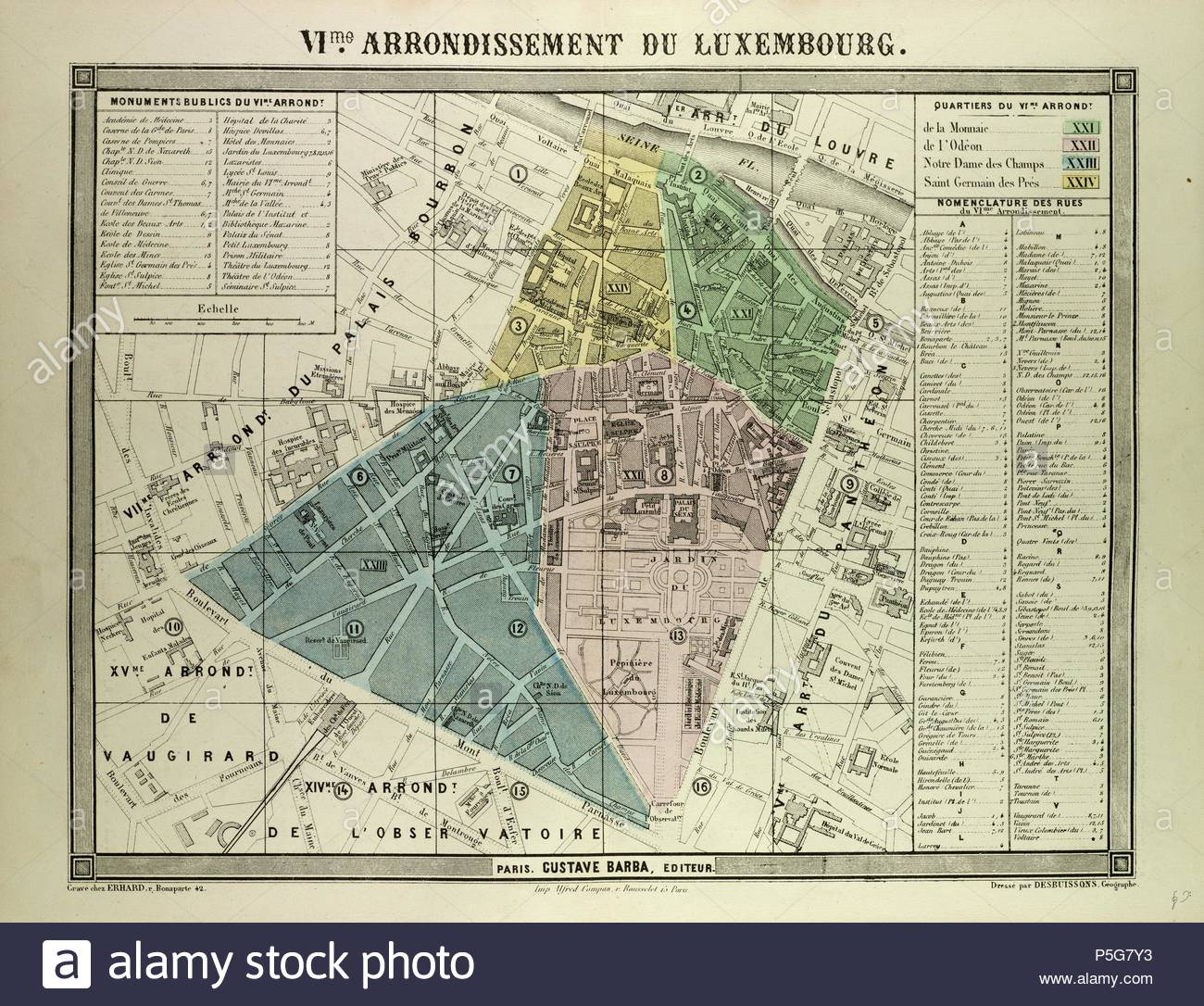 Map Of Paris France 6th Arrondissement.Map Of The 6th Arrondissement Du Luxembourg Paris France Stock