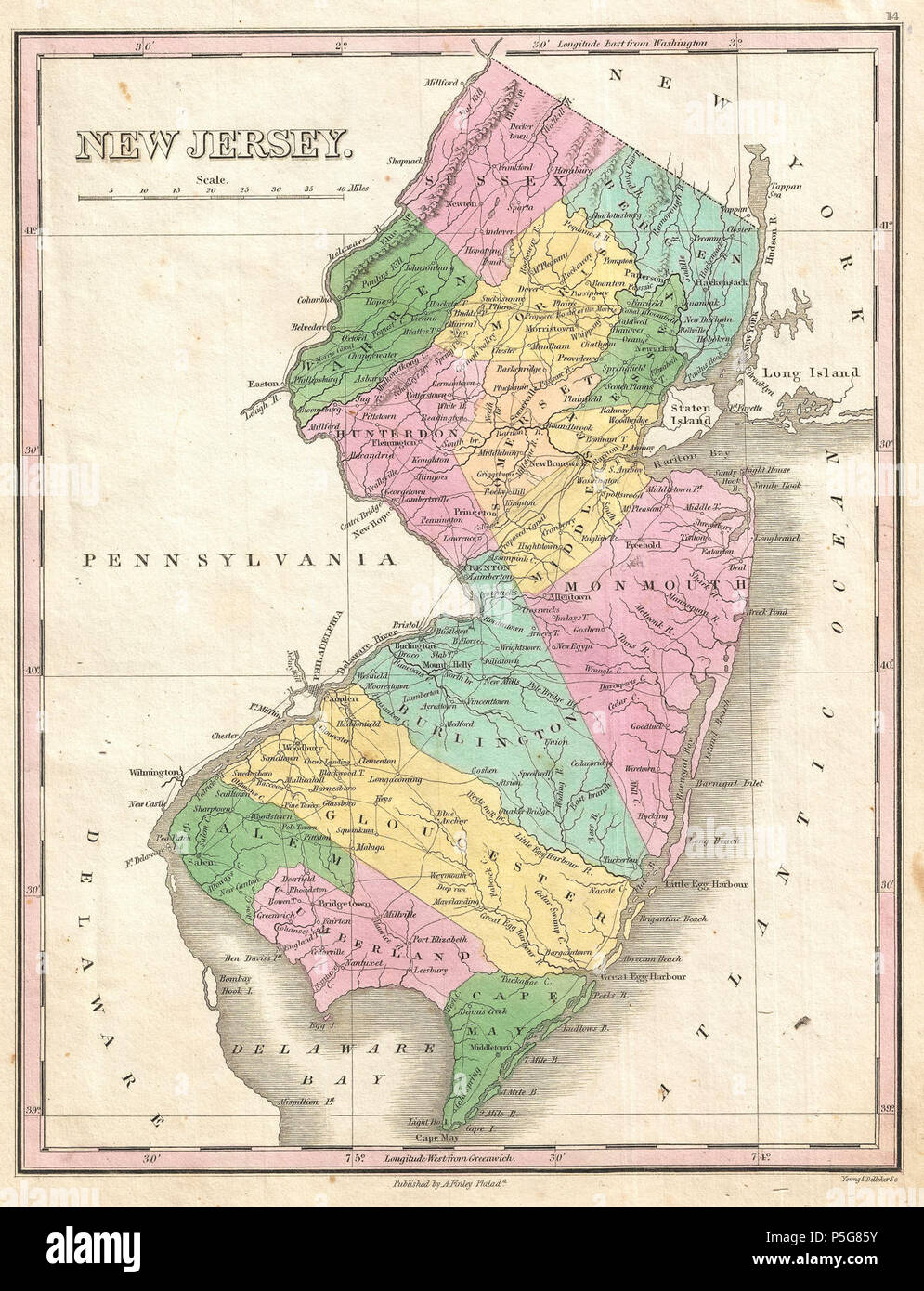 1827 Finley Map of New Jersey - Geographicus - NewJersey-finley-1827. - Stock Image