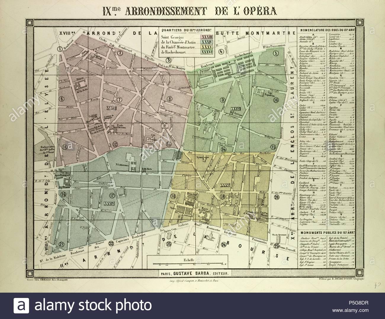 MAP OF THE 9TH ARRONDISSEMENT DE L'OPÉRA, PARIS, FRANCE. - Stock Image