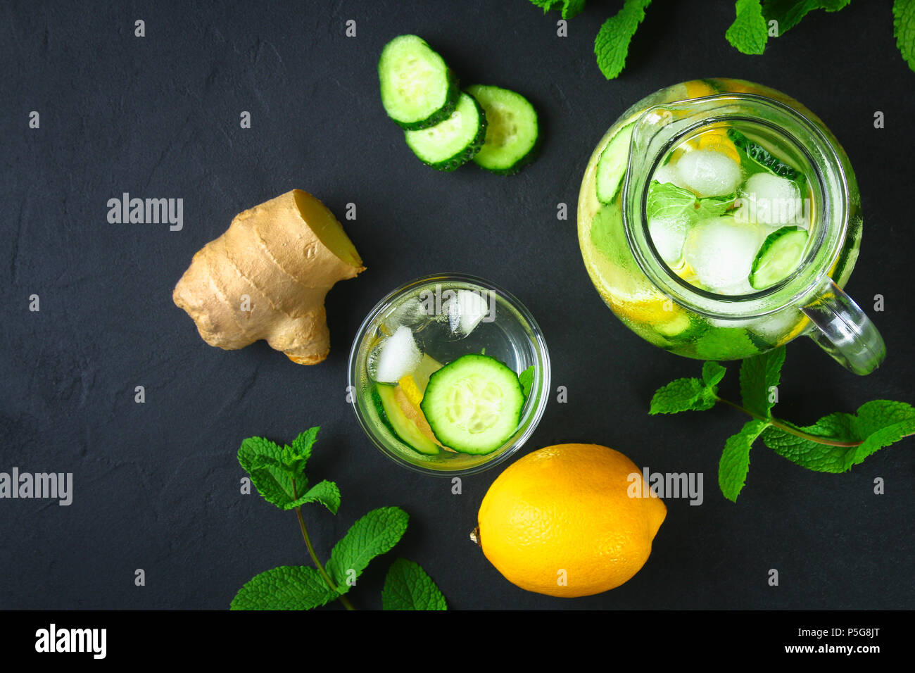 Sassy water  Fresh cool water with cucumber, lemon, ginger and mint