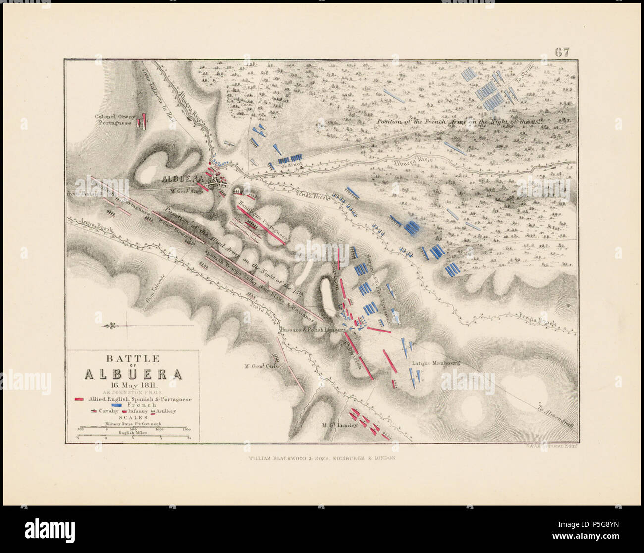N/A. English: Scan of map produced by Alexander Keith Johnston for Sir Archibald Alison's book Alison's History of Europe, published in 1850. publisher en:William Blackwood & sons . 1850. Alexander Keith Johnston 177 Battle of Albuera (1811) map Stock Photo