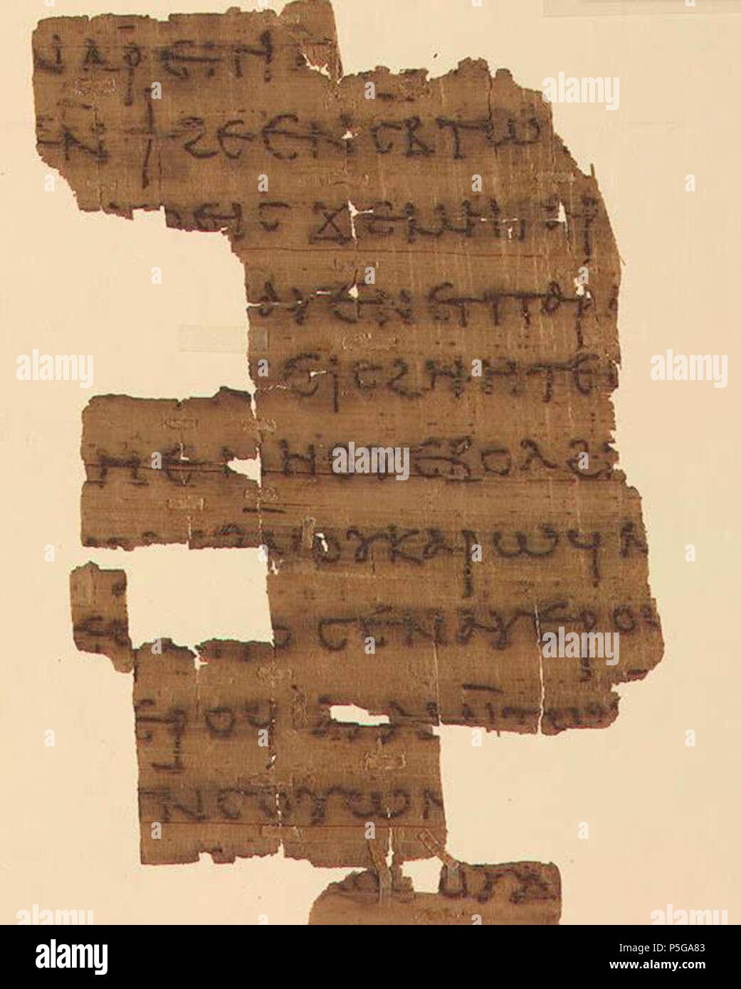 N/A. English: Yale Papyrus Fragment from the Nag Hammadi Gnostic Library Codex III, containing The Dialogue of the Savior (Yale Beinecke Library). The manuscript was copied in the fourth century A.D., but the Dialogue must be much older. Gnostics 446 Dialogue of the Savior - Stock Image