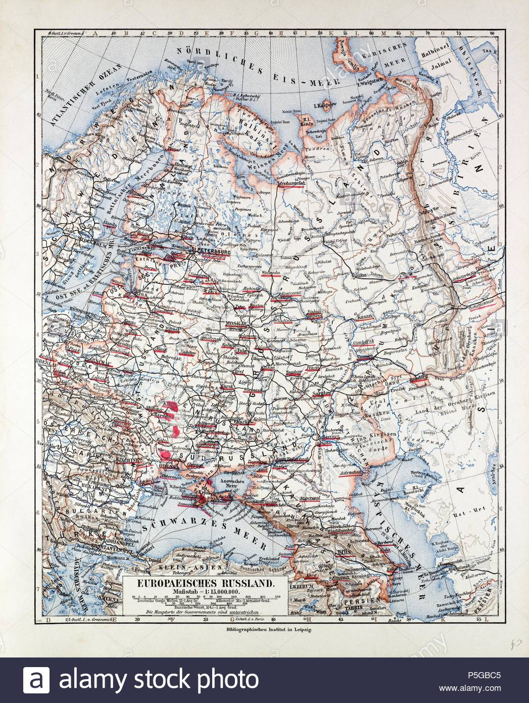 MAP OF THE EUROPEAN PART OF RUSSIA, 1899 Stock Photo: 209957893 - Alamy