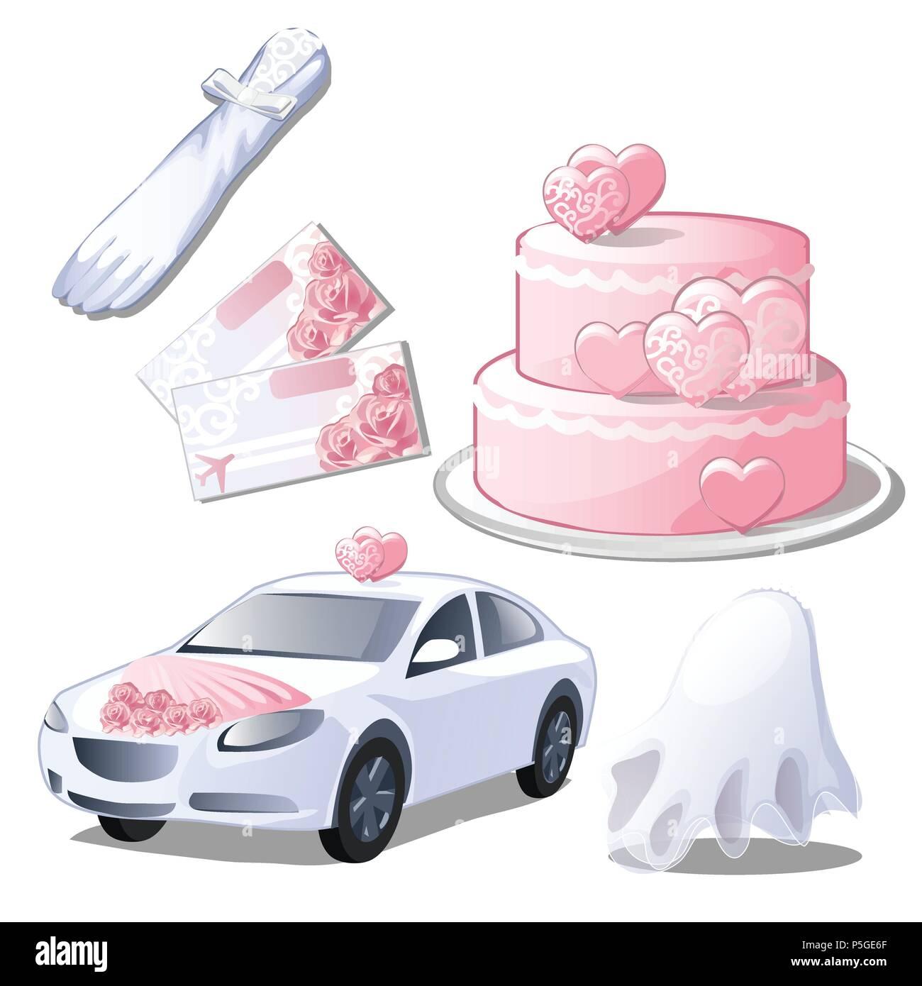Set wedding accessories isolated on white background. Glove, wedding ...
