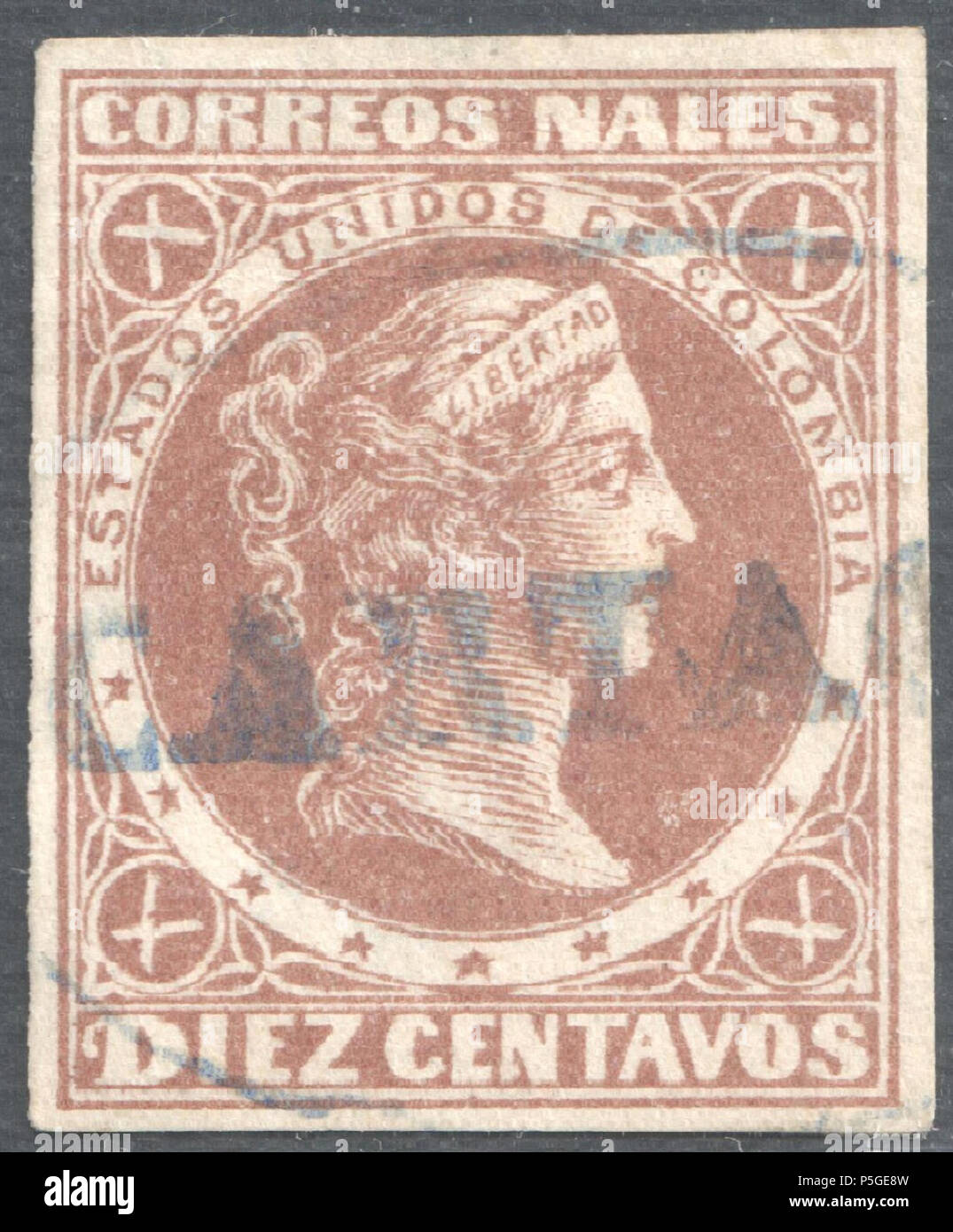 N/A. English: Colombia 1877 Sc74, postmarked by oval 'CARTA(GENA)'. 1874. Post of Colombia 367 Colombia 1877 Sc74 used Cartagena - Stock Image