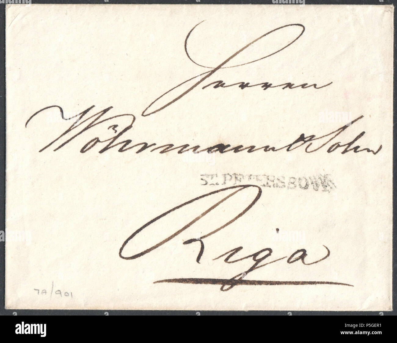 N/A. English: 1807 entire to Riga bearing straight line ST.PETERSBOURG handstamp, backside manuscript '16K'. On November 14 1783, the postal rates in the Russian Empire were made uniform by decree. The rates were valid until 1830. Letters weighing 1 lot, (12.7974g / 0.451 oz), were charged per 100 versts distance (the verst was 1.0668 km / 0.6629 mile): Up to 100 versts 6 kopeks Between 100 and 1500 versts 2 kopeks per 100 versts Between 1500 and 3100 versts 1 kopek per 100 versts > 3100 versts 50 kopeks. This letter was assessed at 16 kopeks, which equals 6+5x2=600 versts or 640km / 398 miles - Stock Image