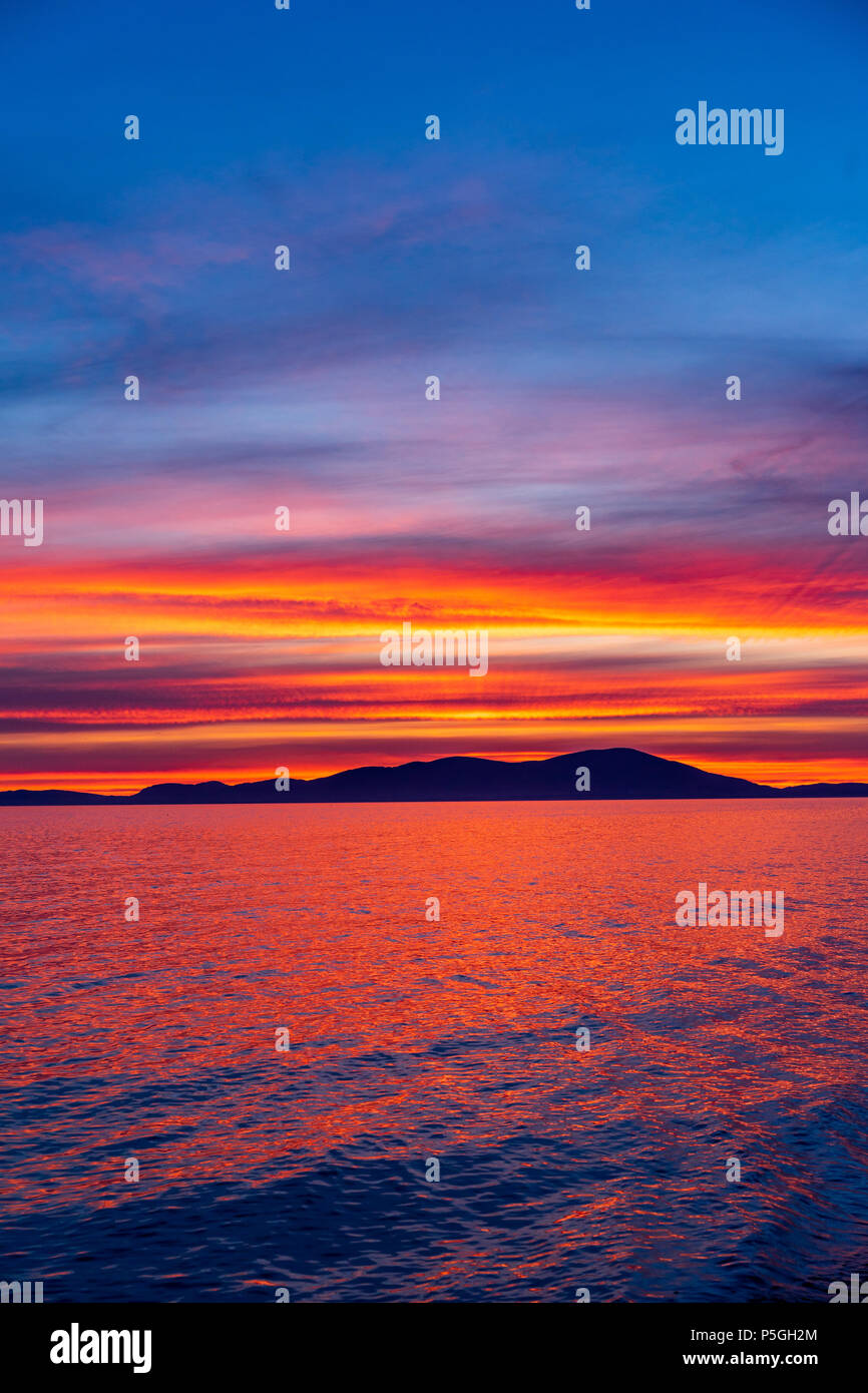 Allonby Sunset colours, Cumbria. - Stock Image