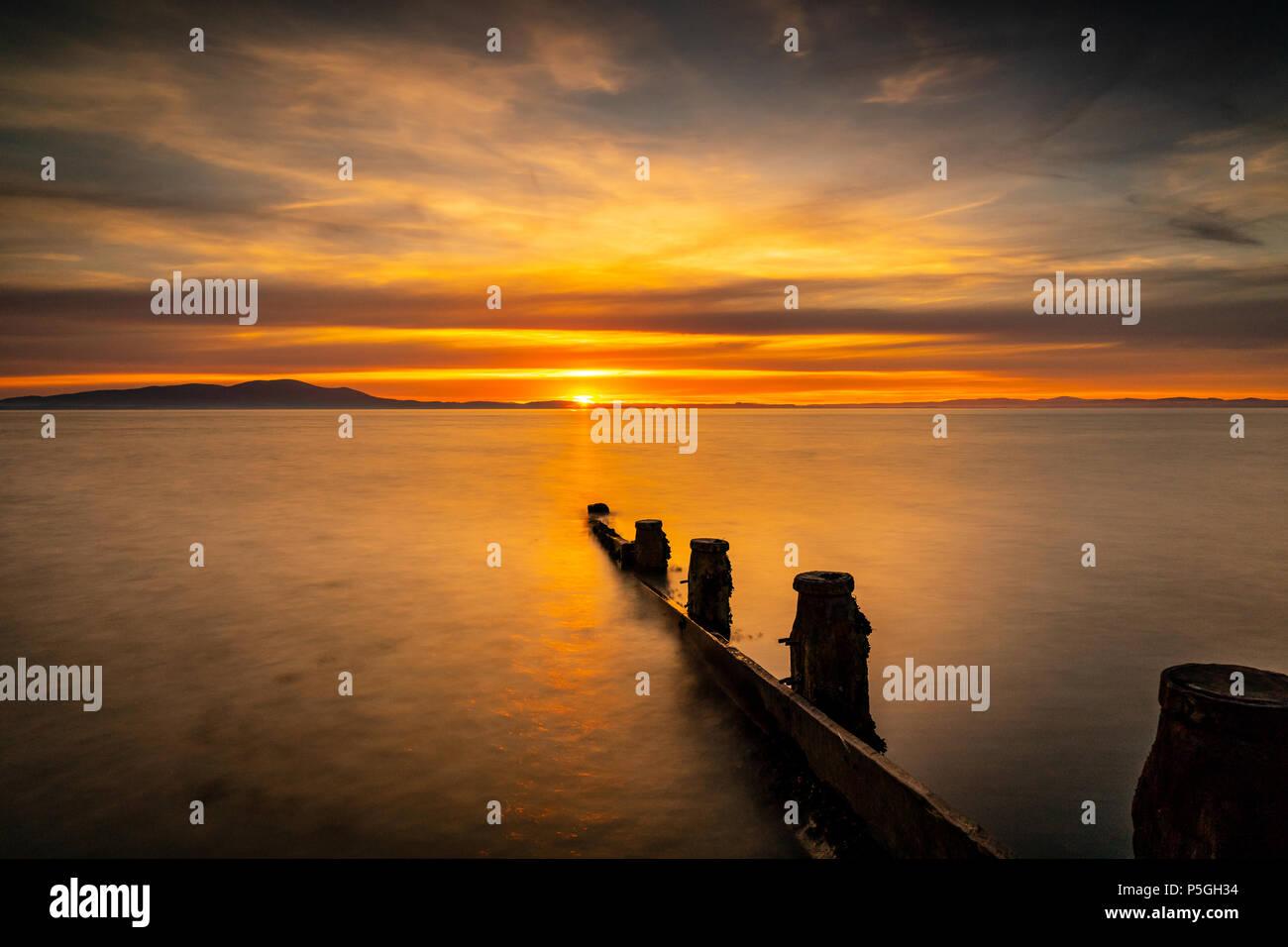 Silloth Sunset 2, Cumbria. - Stock Image