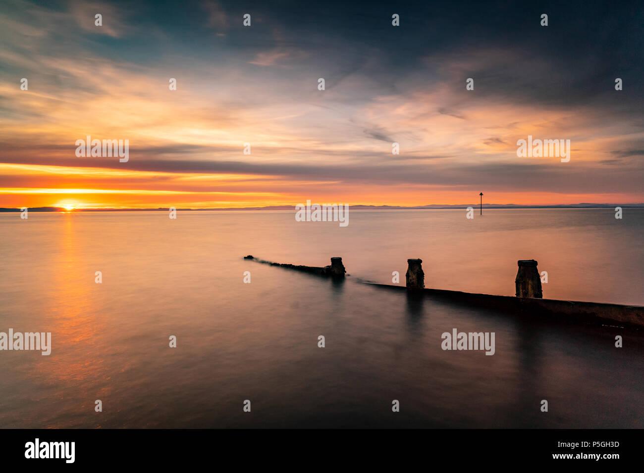 Silloth Sunset, Cumbria. - Stock Image