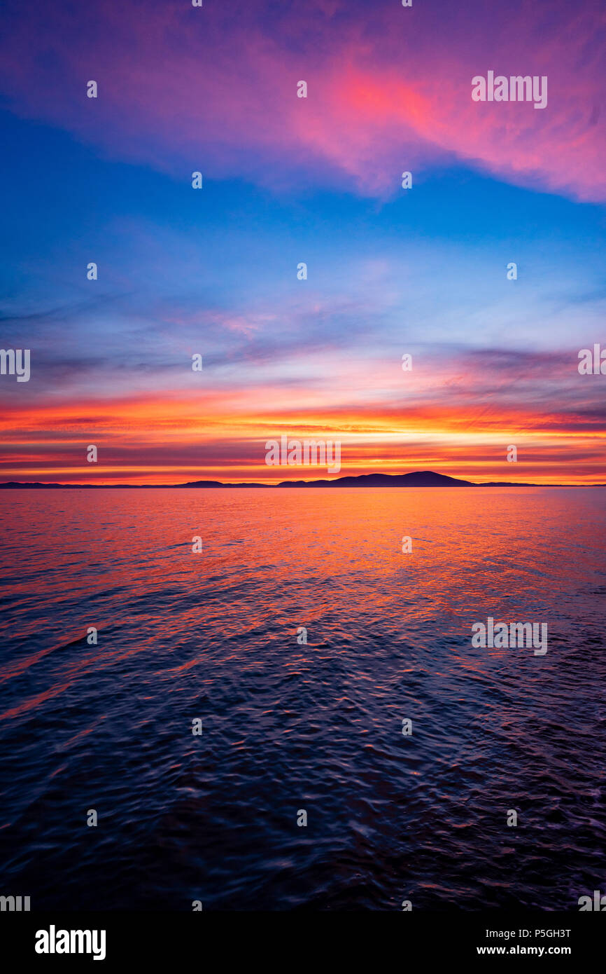 Solway Sunset, Allonby, Cumbria. - Stock Image