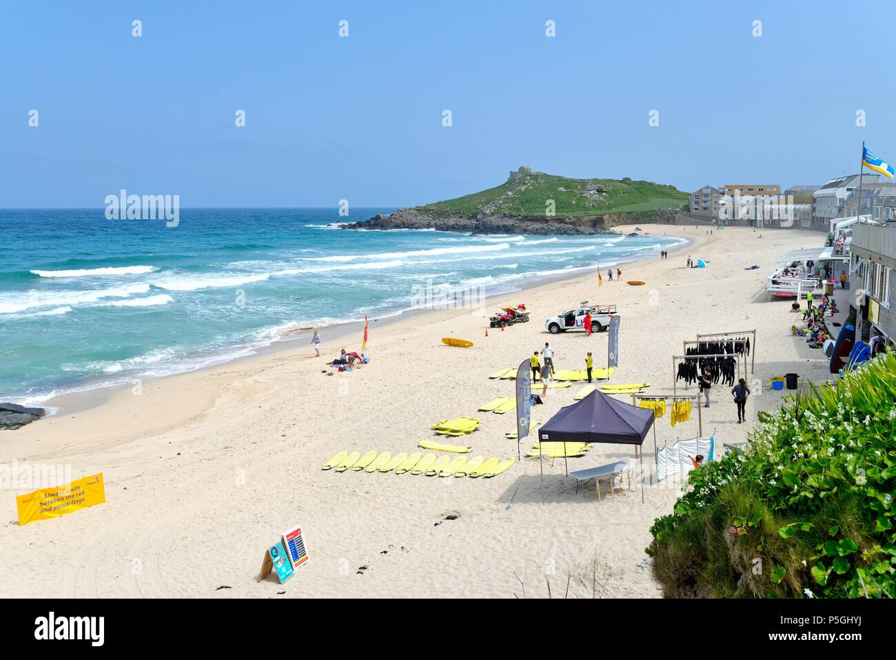 Porthmeor beach on a sunny summers day,St.Ives west Cornwall England UK - Stock Image