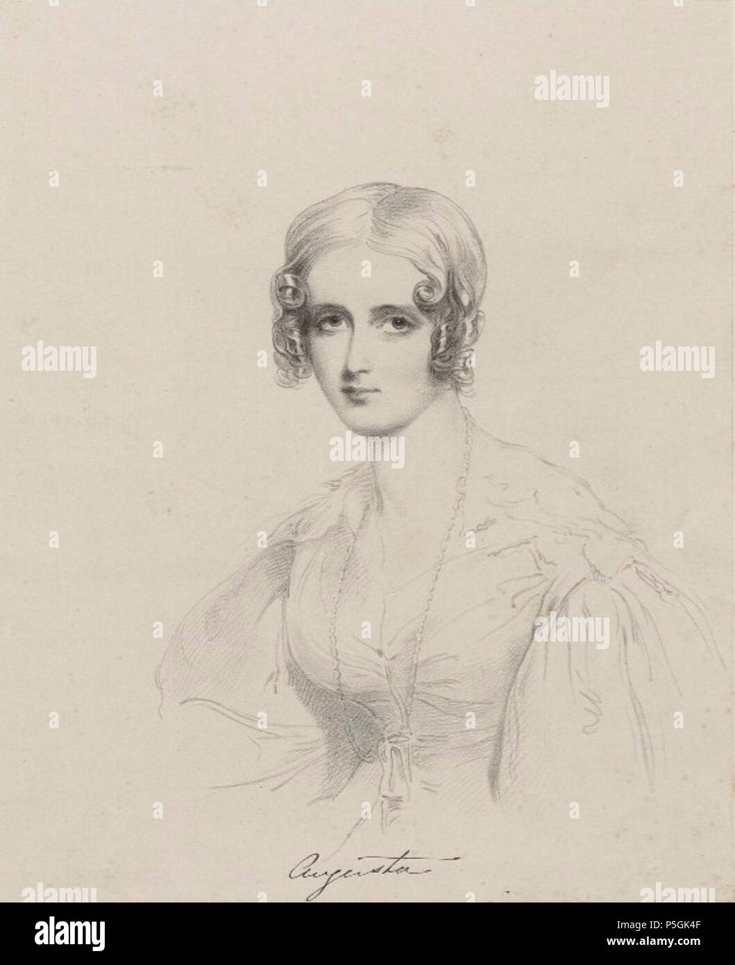 N/A. English: Portrait of Augusta Law (1812–1844), wife of William Towry Law (1809–1886). between circa 1825 and circa 1850. Lithographer Richard James Lane, after Joseph Slater 150 Augusta Law Lane - Stock Image