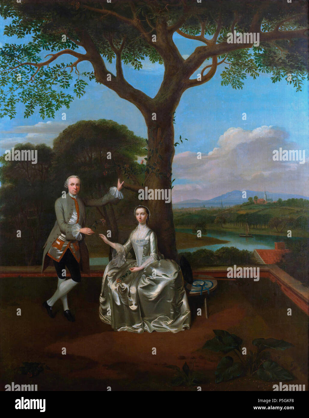 N/A. English: David Gavin (1720-1783) and his first wife, Christine oil on canvas 128.5 x 102.8cm  . 18th century. Creator:Edward Haytley 416 David Gavin of Gavinton and his first wife, Christine, attributed to Edward Haytley - Stock Image