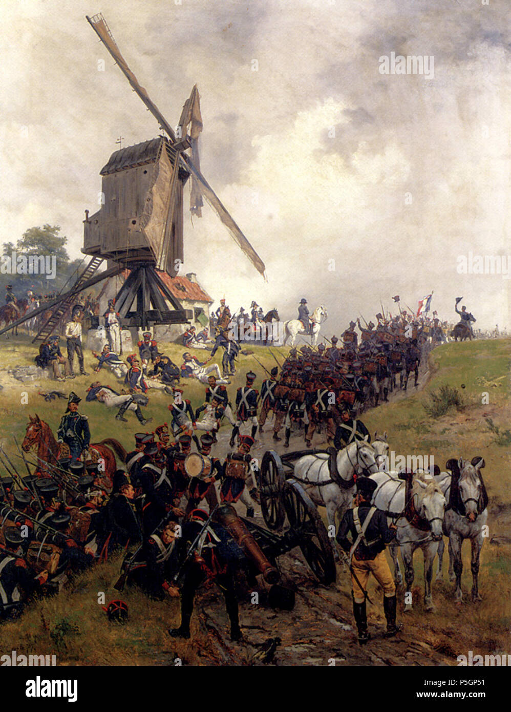 N/A.  English: Ligny This is a representation of the Battle of Ligny in 1815, showing Napoleon surrounded by his staff surveying the battlefield while columns of infantry advance to the front. The windmill is probably that on the heights of Naveau, which served as Napoleon's command post during the battle. This painting by Ernest Crofts was to be the first of no fewer than twelve shown at the Royal Academy by the artist between 1875 and 1906 representing the events surrounding the Waterloo campaign, the one exception being his 1887 rendition, Napoleon leaving Moscow.[1] . 1875.    Ernest Croft - Stock Image