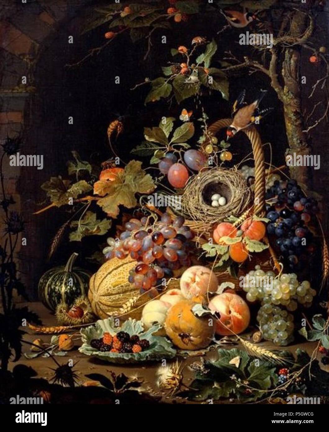 Ein Vogelnest mit Fruchtkorb .  Deutsch: Arrangement von sommerlichen Früchten und Tieren vor einer Mauernische mit Kleingetier, wie Insekten u.a. . circa 1672. N/A 50 A.Mignon-Vogelnest Stock Photo