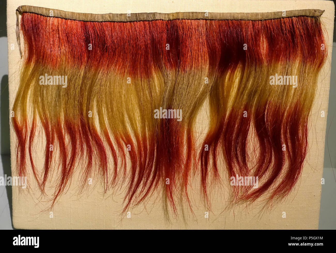 N/A. English: Exhibit from the Native American Collection, Peabody Museum, Harvard University, Cambridge, Massachusetts, USA. Photography was permitted without restriction; exhibit is old enough so that it is in the . 27 May 2017, 14:31:40. Daderot 365 Collar, Choctaw, dyed horsehair, before 1828 - Native American collection - Peabody Museum, Harvard University - DSC05888 Stock Photo