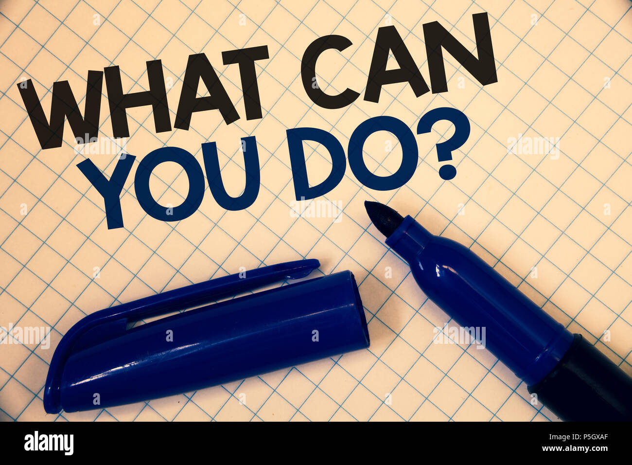 Handwriting text writing What Can You Do Question. Concept meaning Service Determination Purpose Worth Contemplation Text two Words written paper open - Stock Image