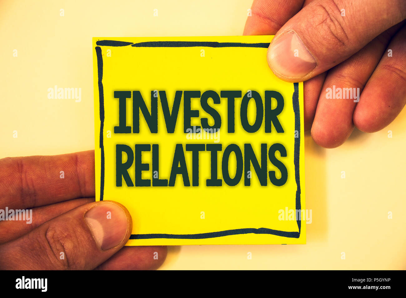 Conceptual hand writing showing Investor Relations. Business photo text Finance Investment Relationship Negotiate Shareholder Grizzled background reta - Stock Image