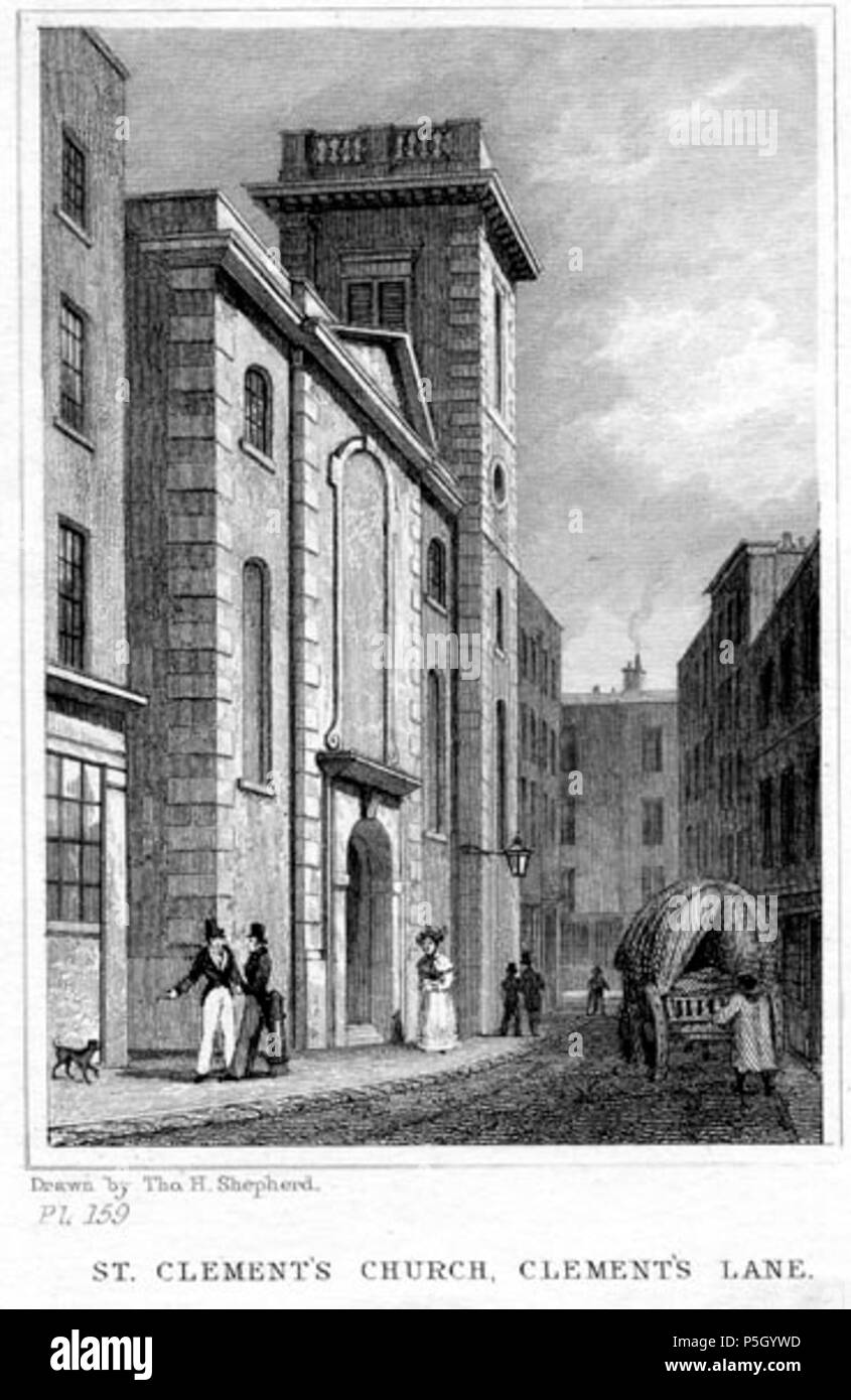 N/A.  English: SHEPHERD, Thomas Hosmer, 1793-1864: [CLEMENTS LANE - ST. CLEMENT EASTCHEAP] ST. CLEMENT'S CHURCH, CLEMENT'S LANE. [London: Jones & Co., 1831]. Llooking south down Clements Lane, with St Clement's church to the left. Engraved by James Charles Armytage (1802-1897) from an original drawing (now in the Museum of London) by Thomas Hosmer Shepherd, the master recorder of 19th-century London. First appeared in Shepherd's part-work series 'London and its Environs in the Nineteenth Century' (London 1829-1832). Steel line engraving on paper. Later hand colour. . 1831. engraving by   Jam - Stock Image