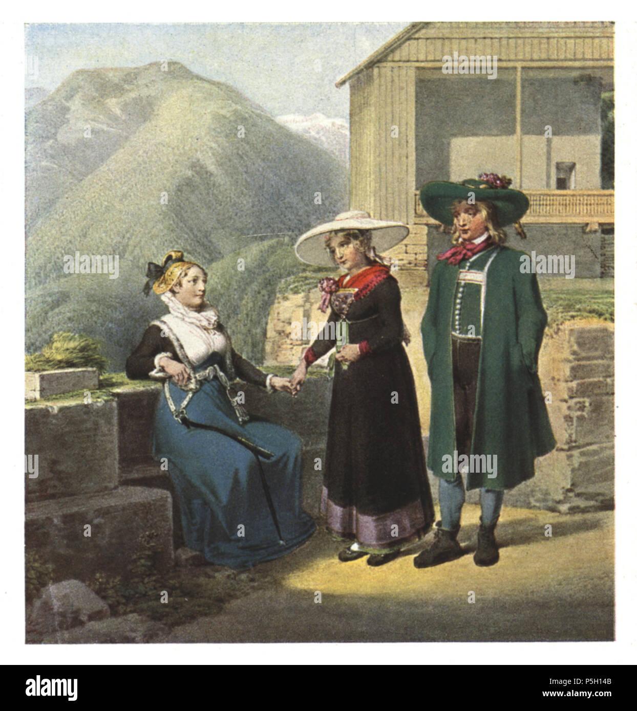 10 069 Bürgersfrau aus Bruck an der Mur und Bauernpaar aus der Gegend von Leoben - Aquarell von Matthäus Loder, 1822 Stock Photo