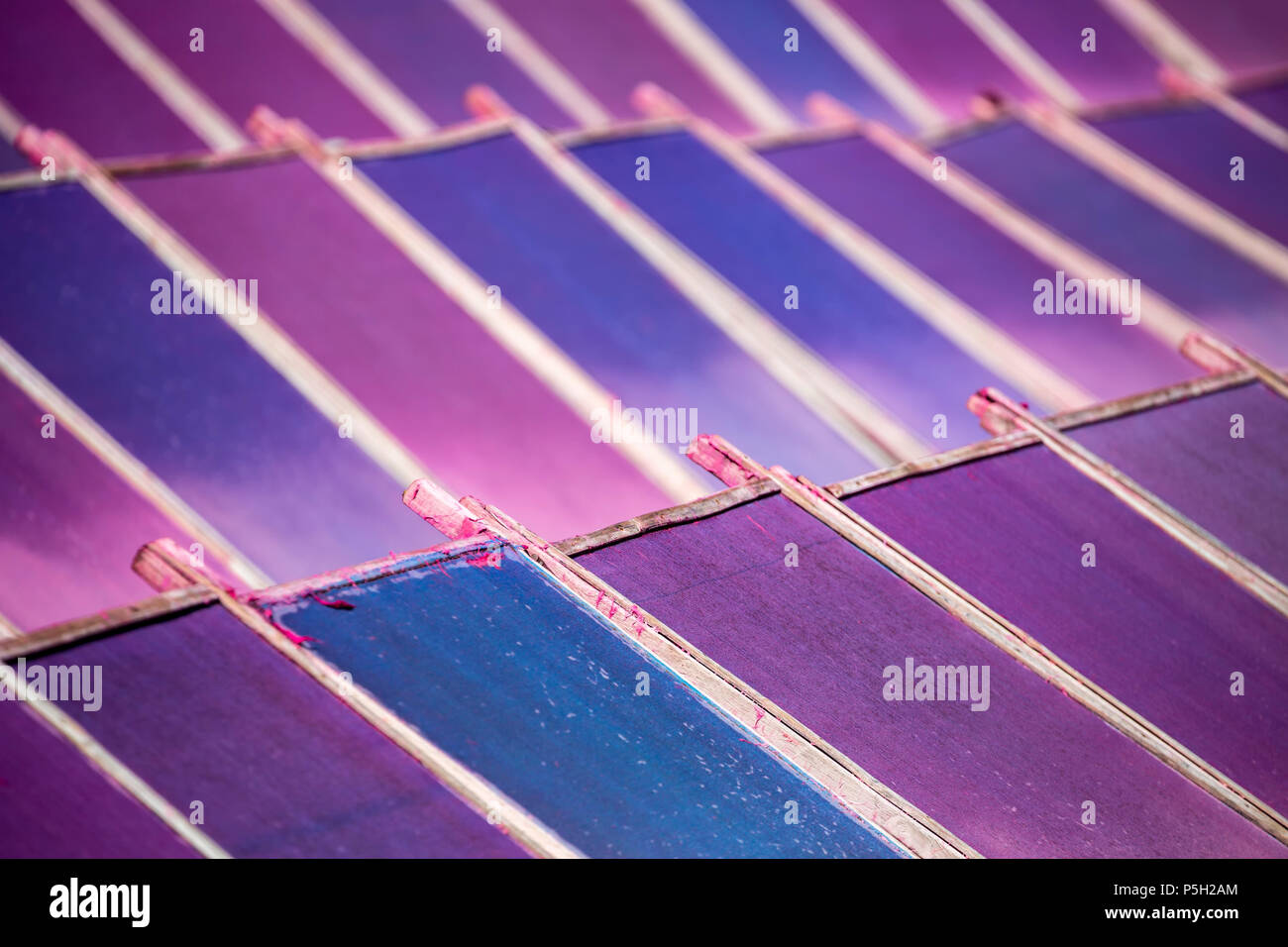 Colorful screens with drying mulberry (saa) paper, near Chiang Mai, Thailand - Stock Image