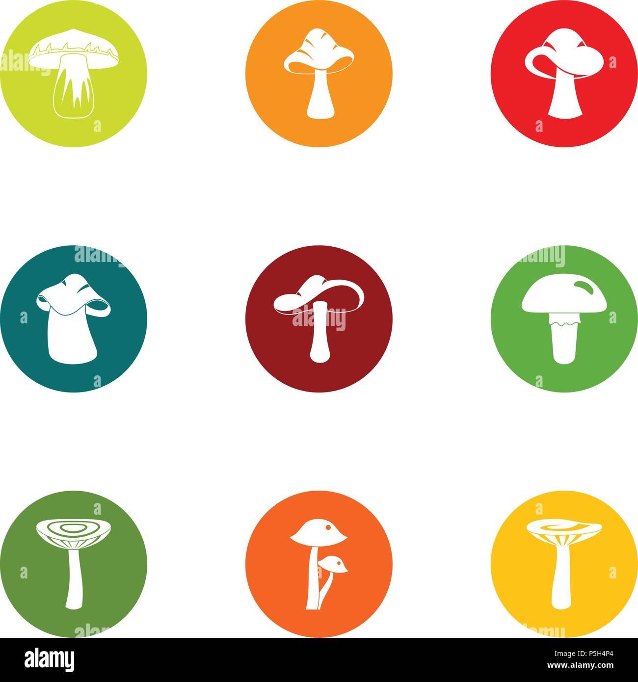Mushroom colony icons set, flat style - Stock Vector