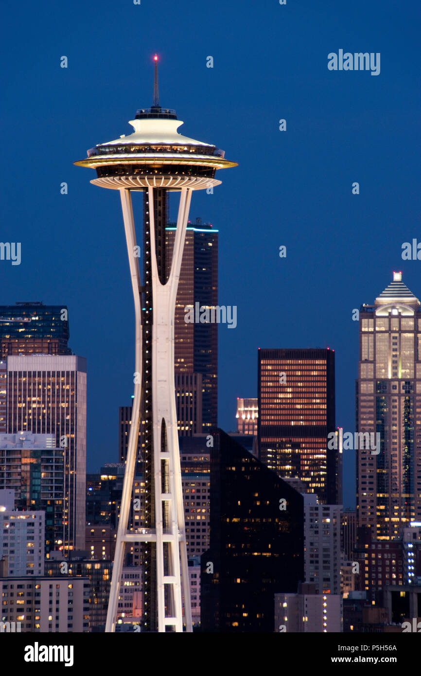 The Space Needle observation tower built, for the 1962 World's Fair, is an icon of Seattle, Washington. - Stock Image