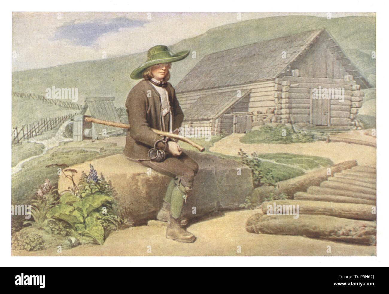 10 065 Halterbua auf der Weiderlingalm bei Leoben - Aquarell von Matthäus Loder, 1820 Stock Photo