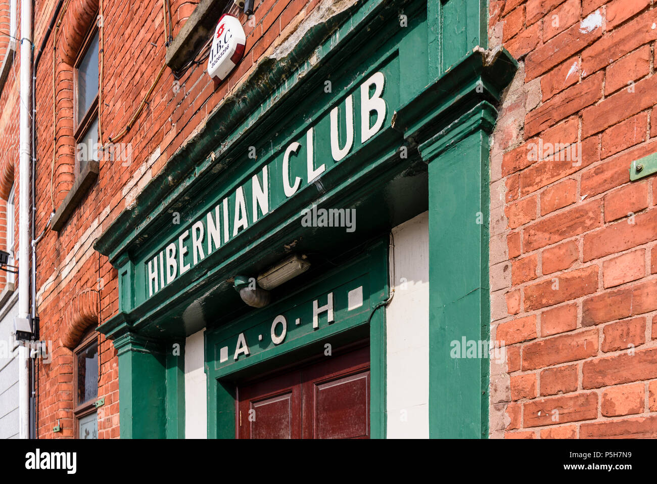Entrance to an Ancient Order of Hiberian Club. Hibernians, AOH. Stock Photo