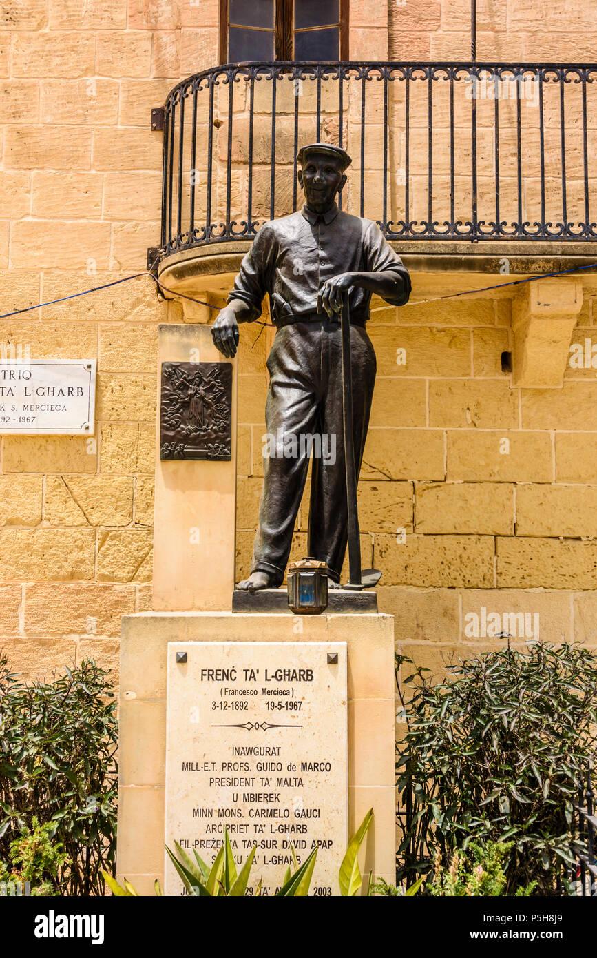 Monument to Francesco Mercieca, better known as Frenc ta' l-Gharb (03/12/1892 to 19/05/1967), a famous Gozitan faith healer. Gasri, Gozo, Malta. - Stock Image