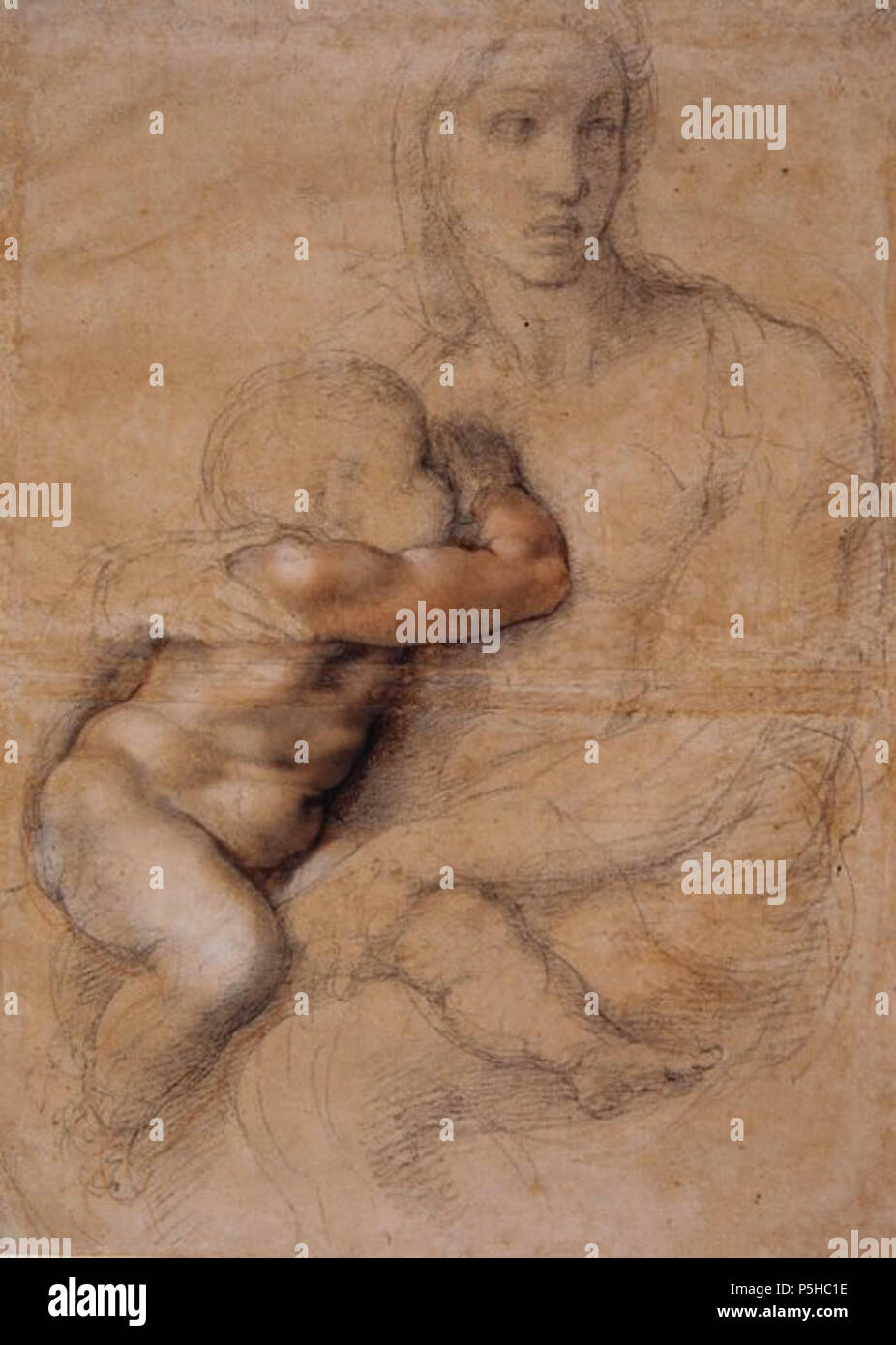 N/A. English A drawing by Renaissance artist Michelangelo