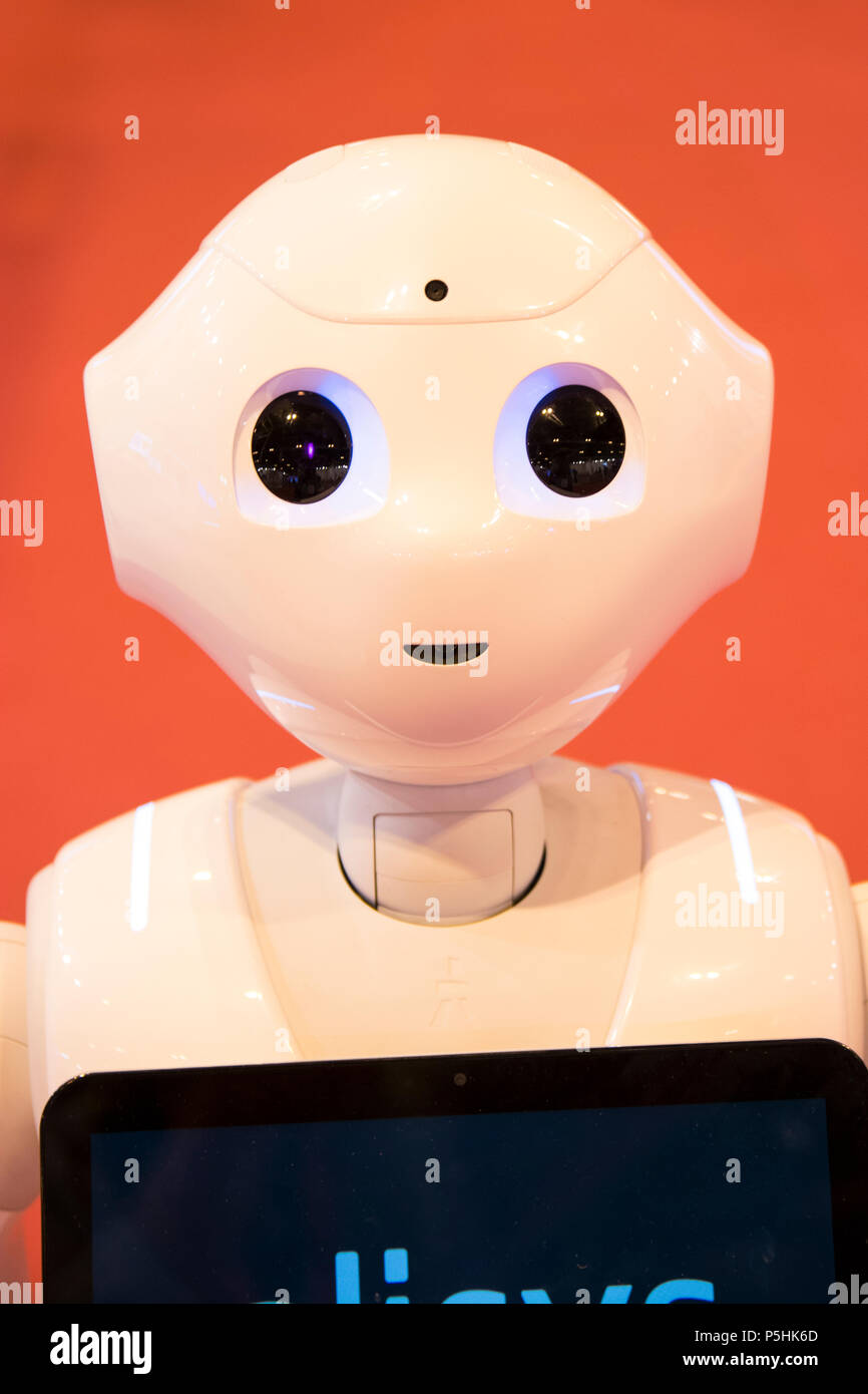 Pepper artificial inteligence robot from Softbank Robotic and Alisys. In GR-EX (Global Robot Expo) in Madrid 2018. - Stock Image