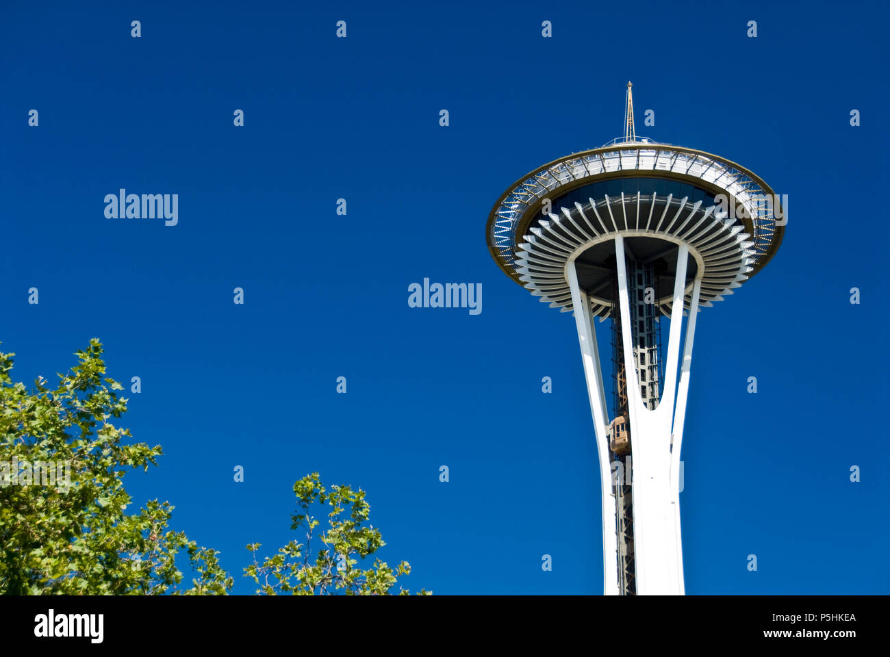 The Space Needle, located at the Seattle Center, was built for the 1962 World's Fair and has become the symbol of Seattle. - Stock Image