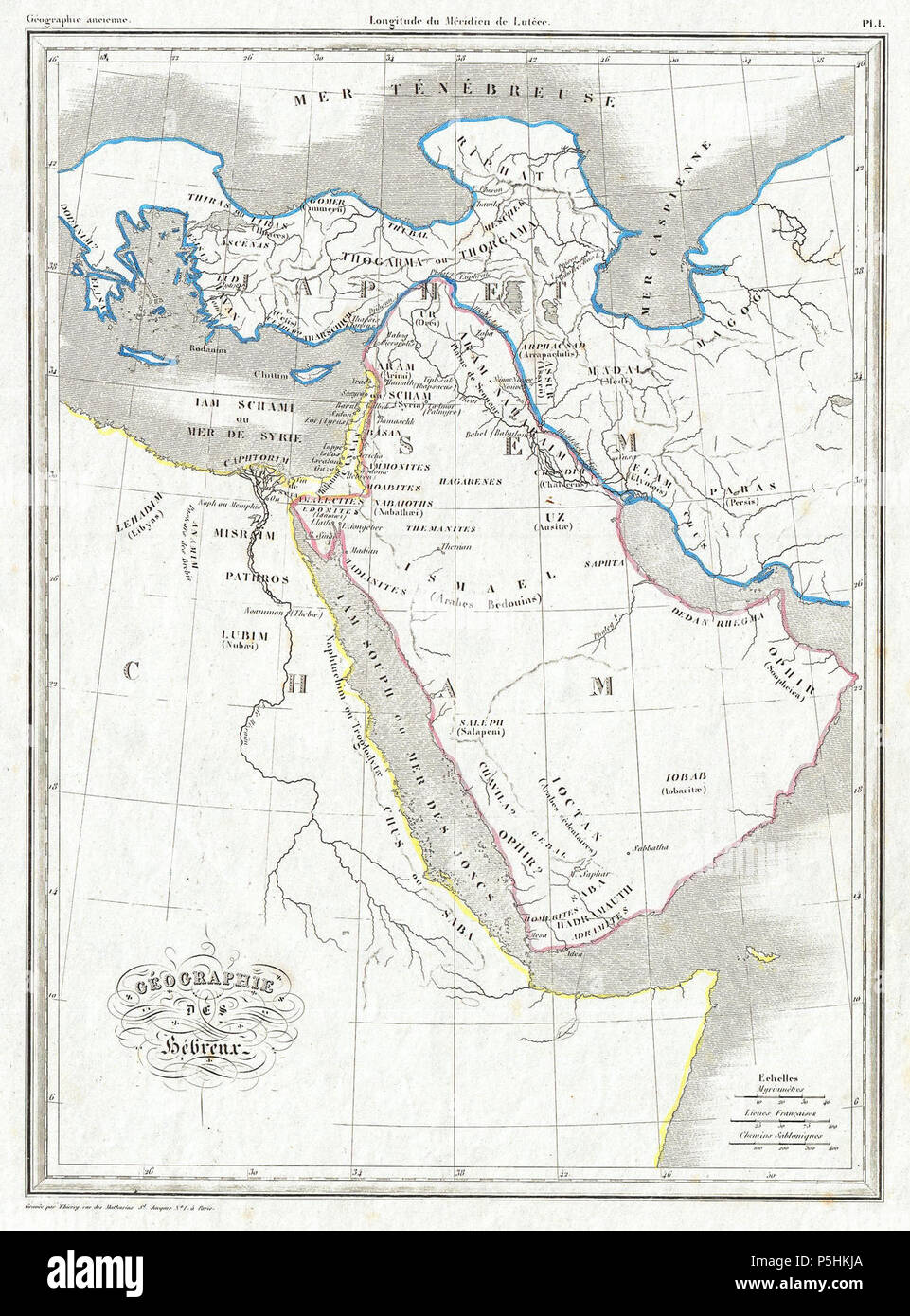 1843 Malte Brun Map of the Biblical Lands of the Hebrews (Egypt, Arabia, Israel, Turkey) - Geographicus - Hebreux-maltebrun-1837. Stock Photo