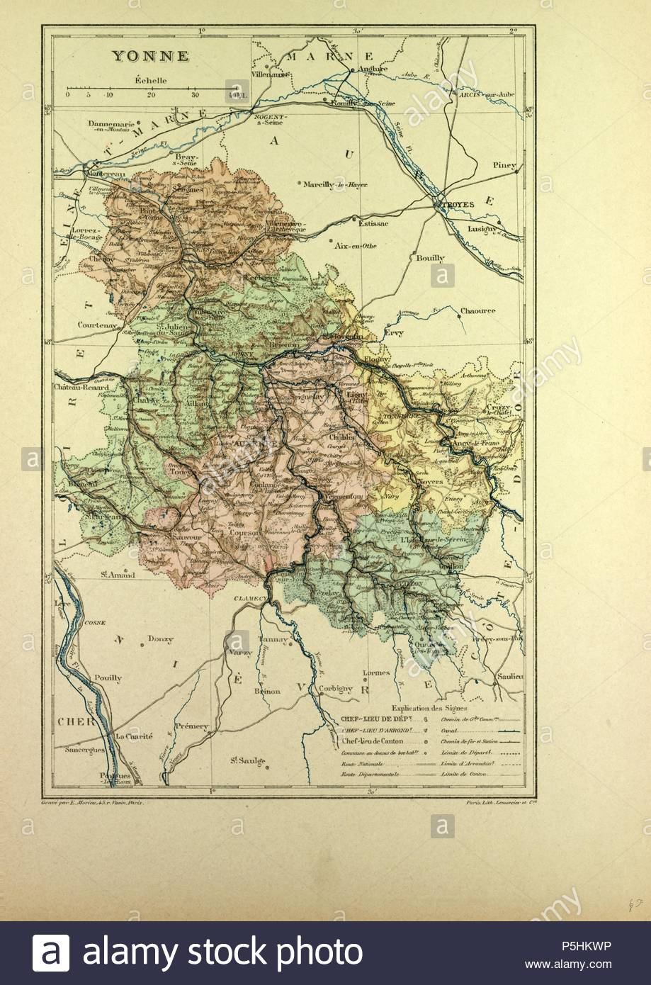 Map Of Yonne France.Map Of Yonne France Stock Photo 209986498 Alamy